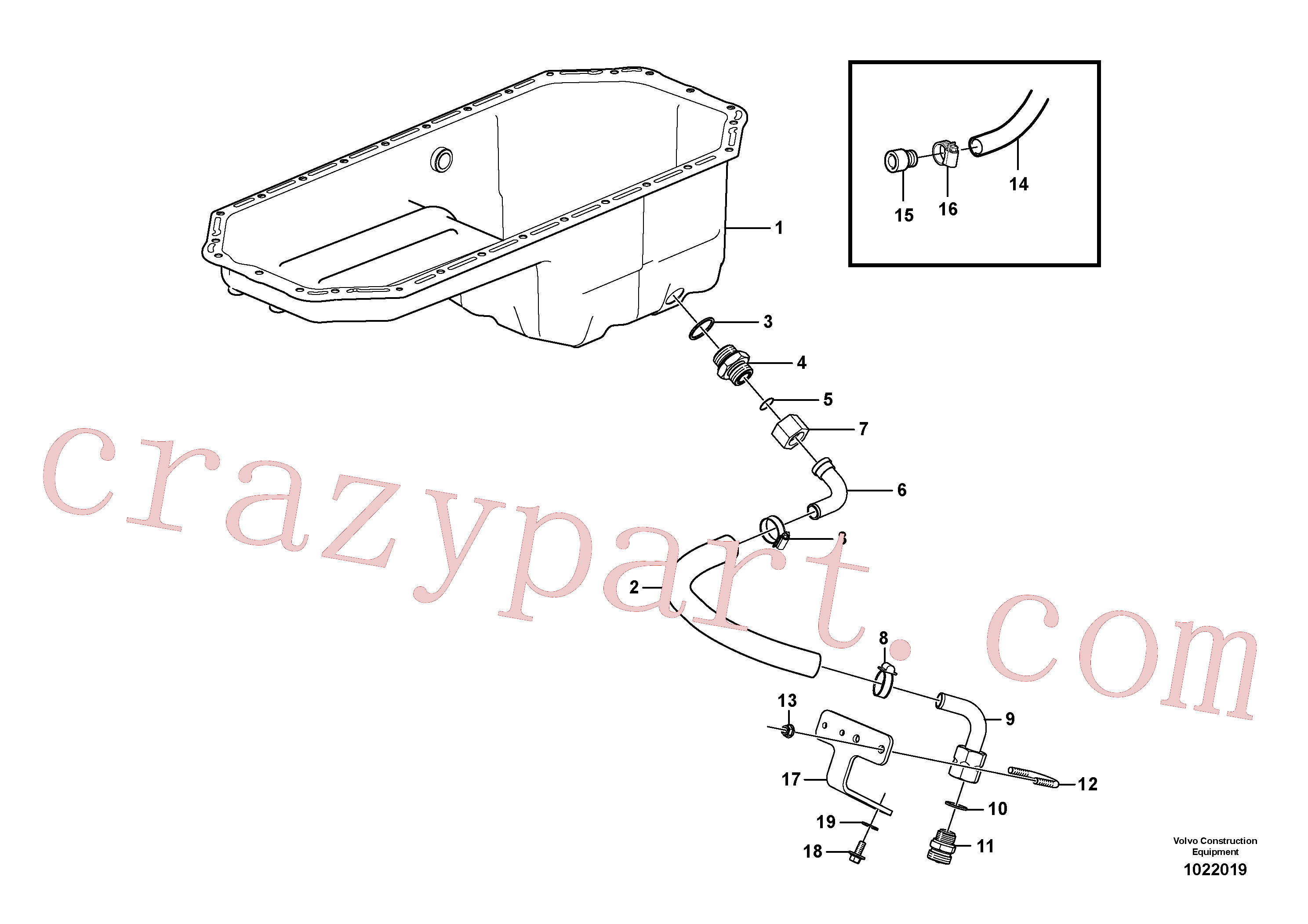 VOE13933877 for Volvo Drain line, oil sump(1022019 assembly)