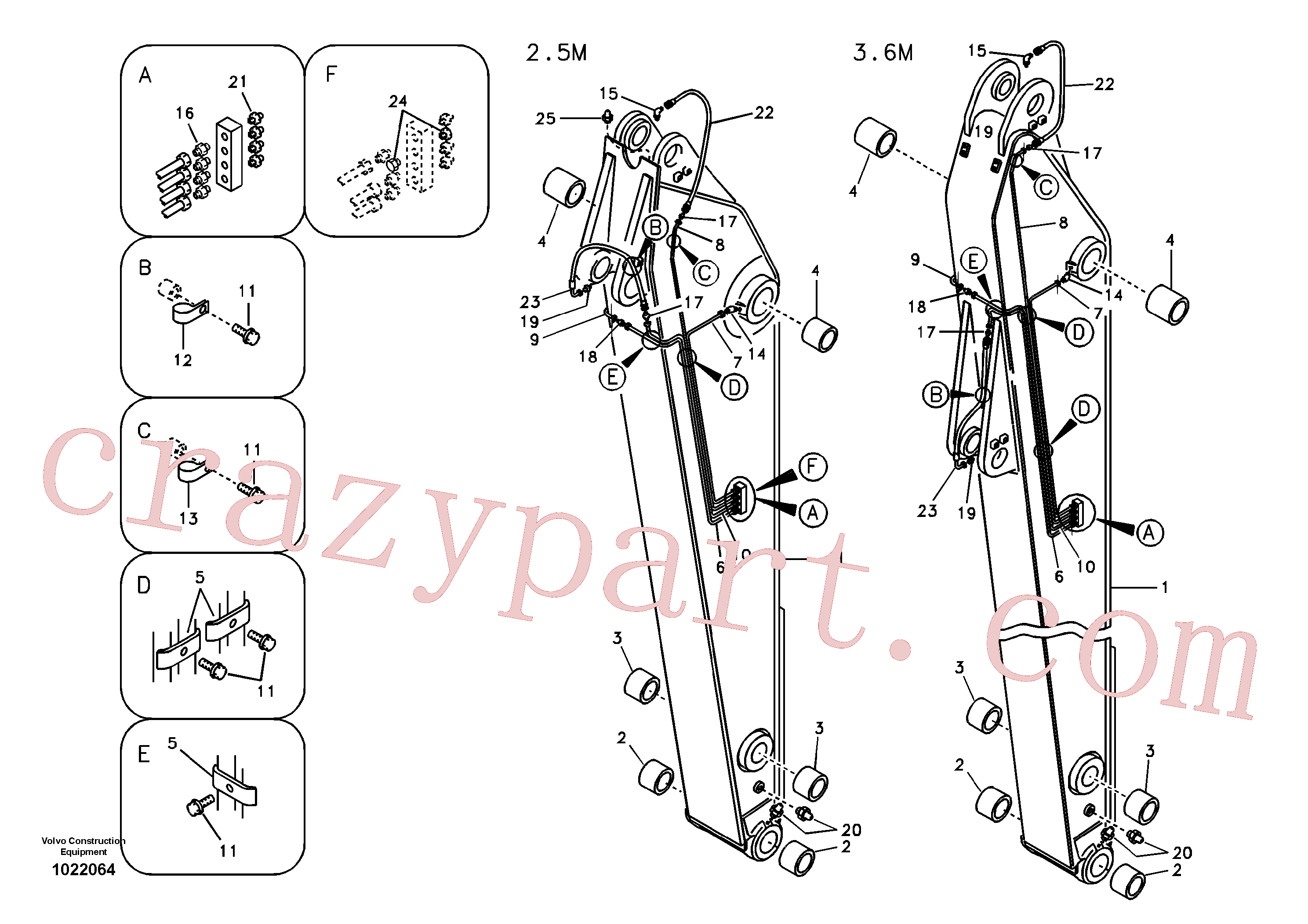 VOE14532032 for Volvo Dipper arm and grease piping with piping seat(1022064 assembly)