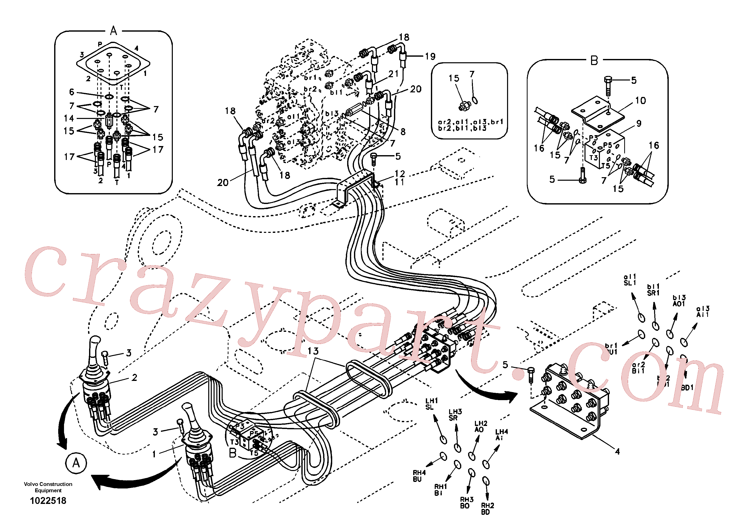 VOE946943 for Volvo Servo system, control valve to remote control valve(1022518 assembly)
