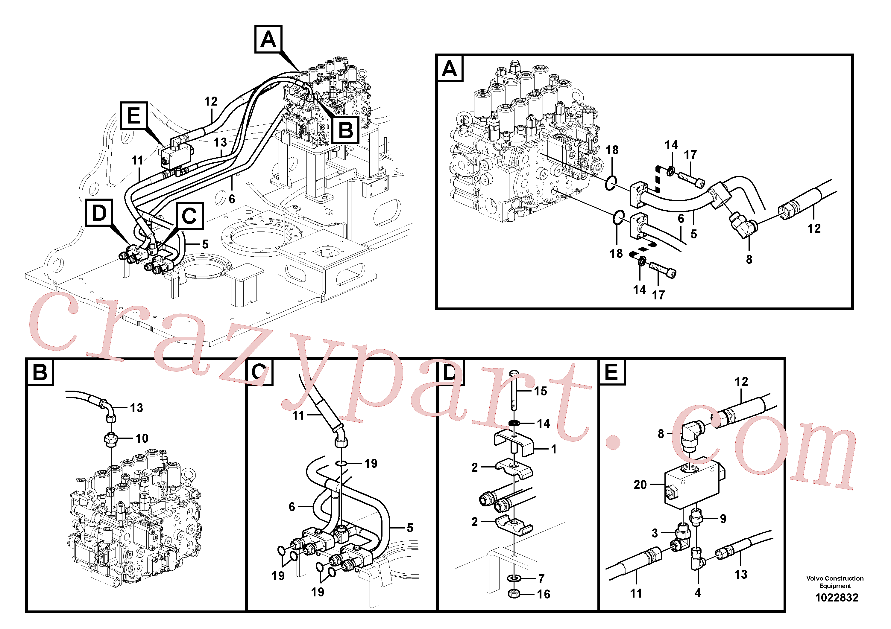 VOE937261 for Volvo Hydraulic system, control valve to boom and swing(1022832 assembly)