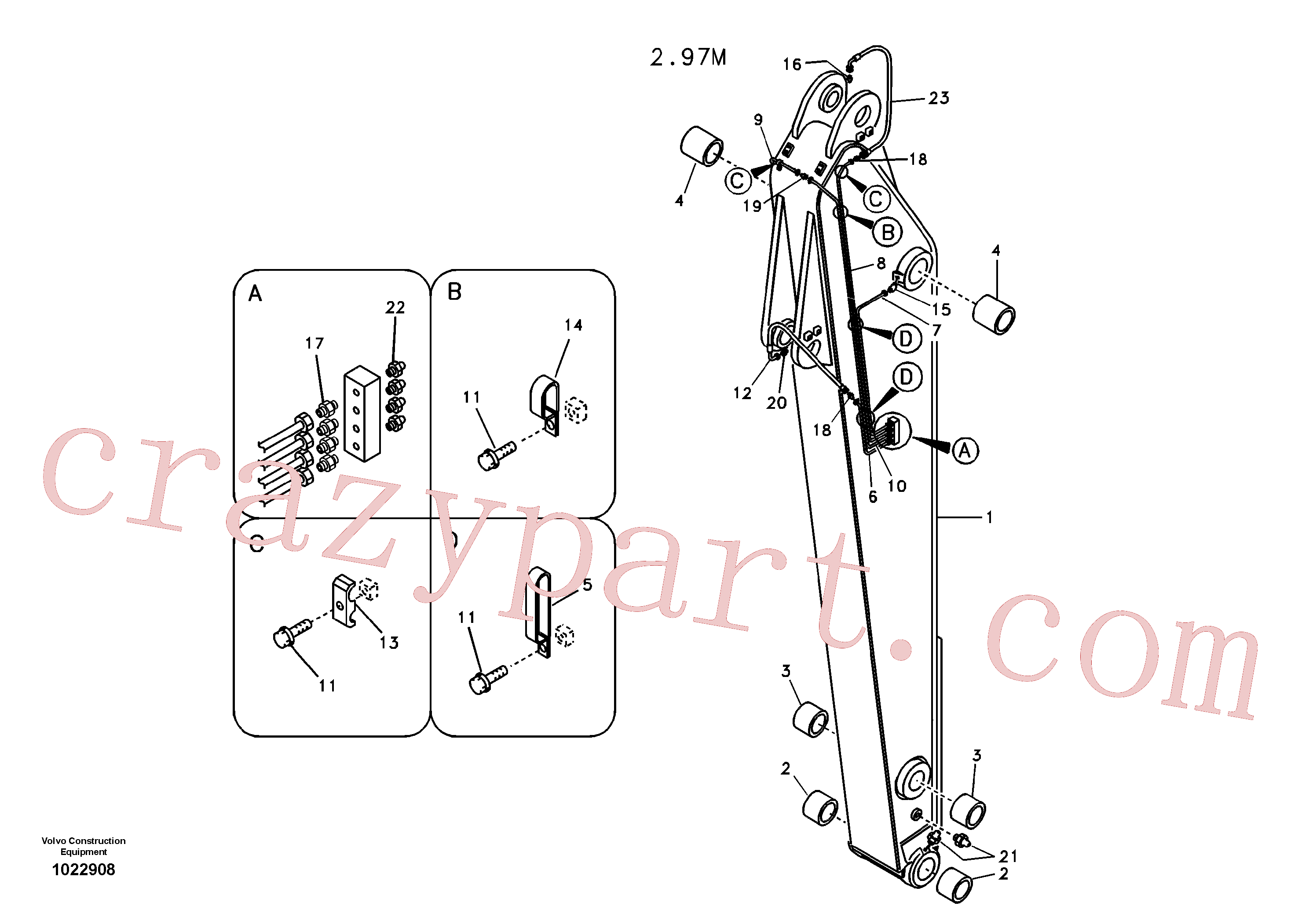VOE14517016 for Volvo Dipper arm and grease piping with piping seat(1022908 assembly)