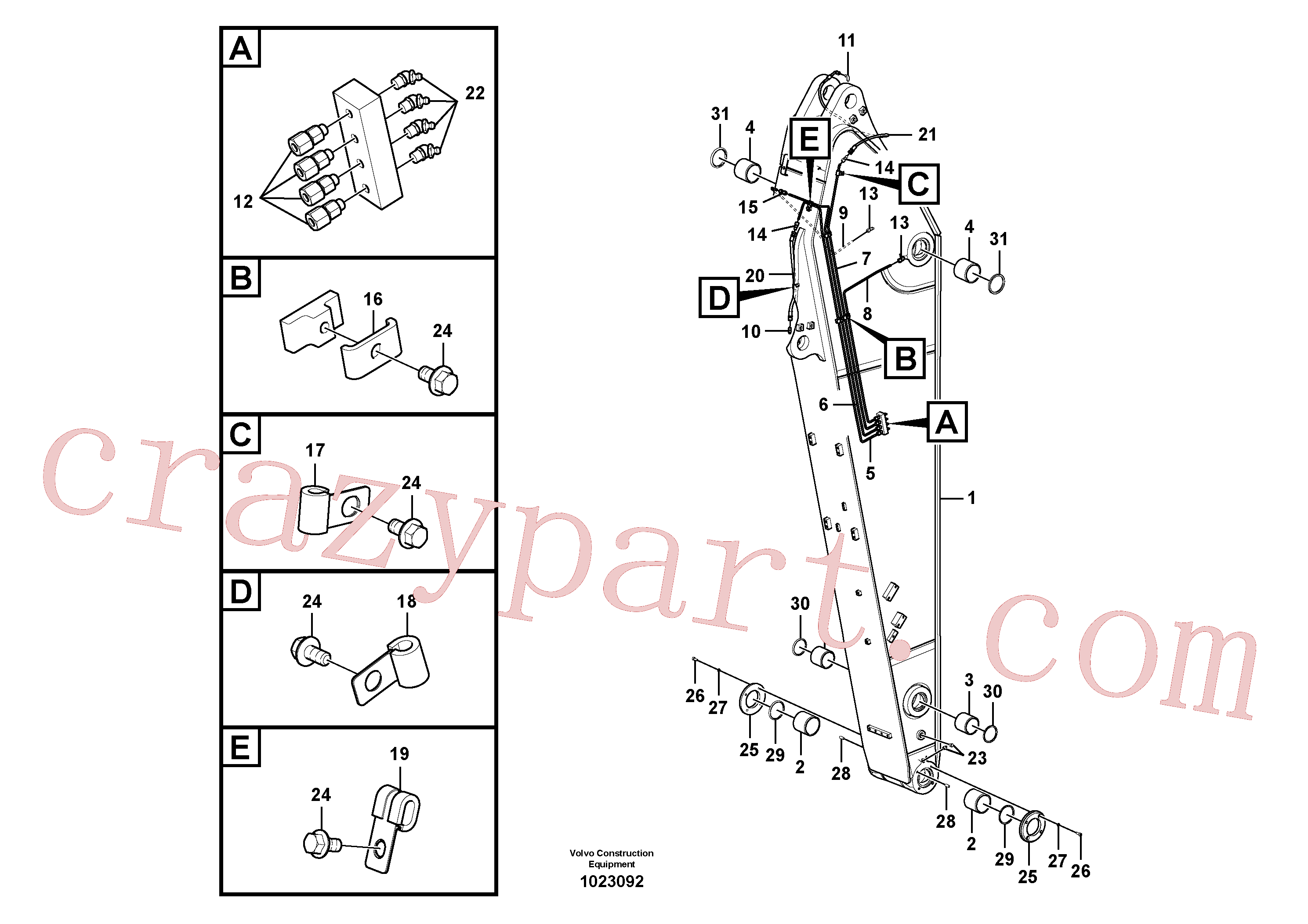 VOE14697375 for Volvo Dipper arm and grease piping with piping seat(1023092 assembly)