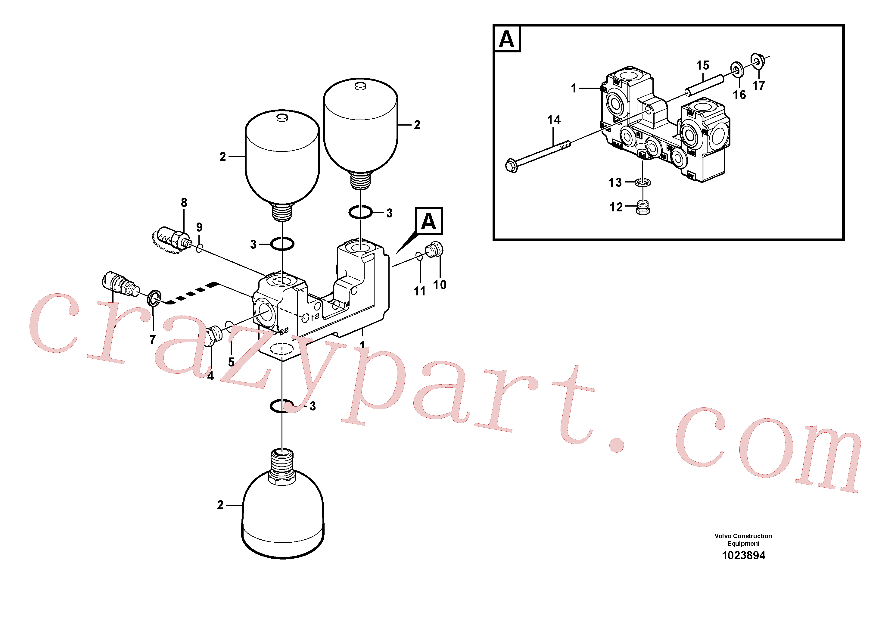VOE968237 for Volvo Valve and accumulators(1023894 assembly)