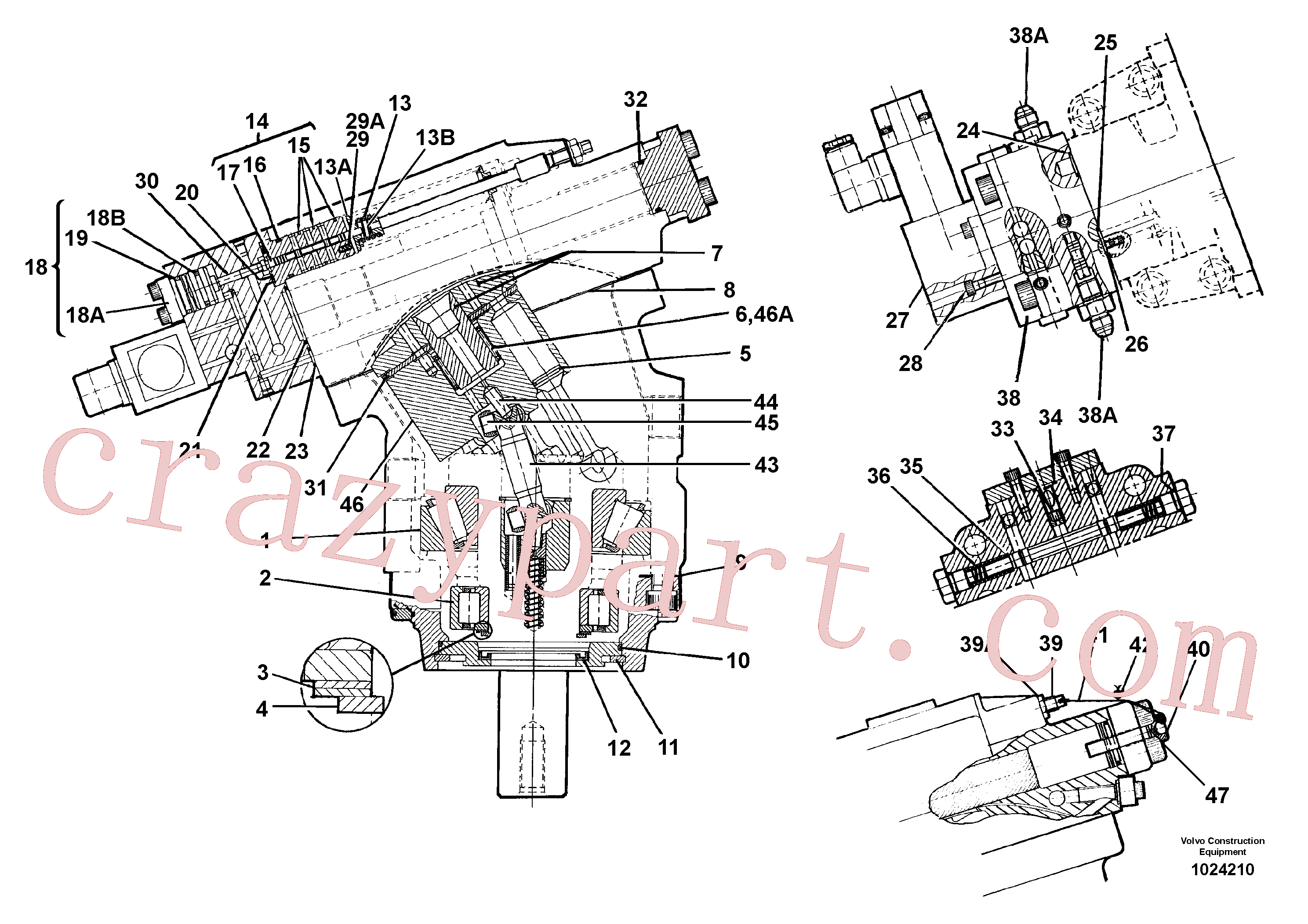 VOE14213280 for Volvo Hydraulic motor(1024210 assembly)