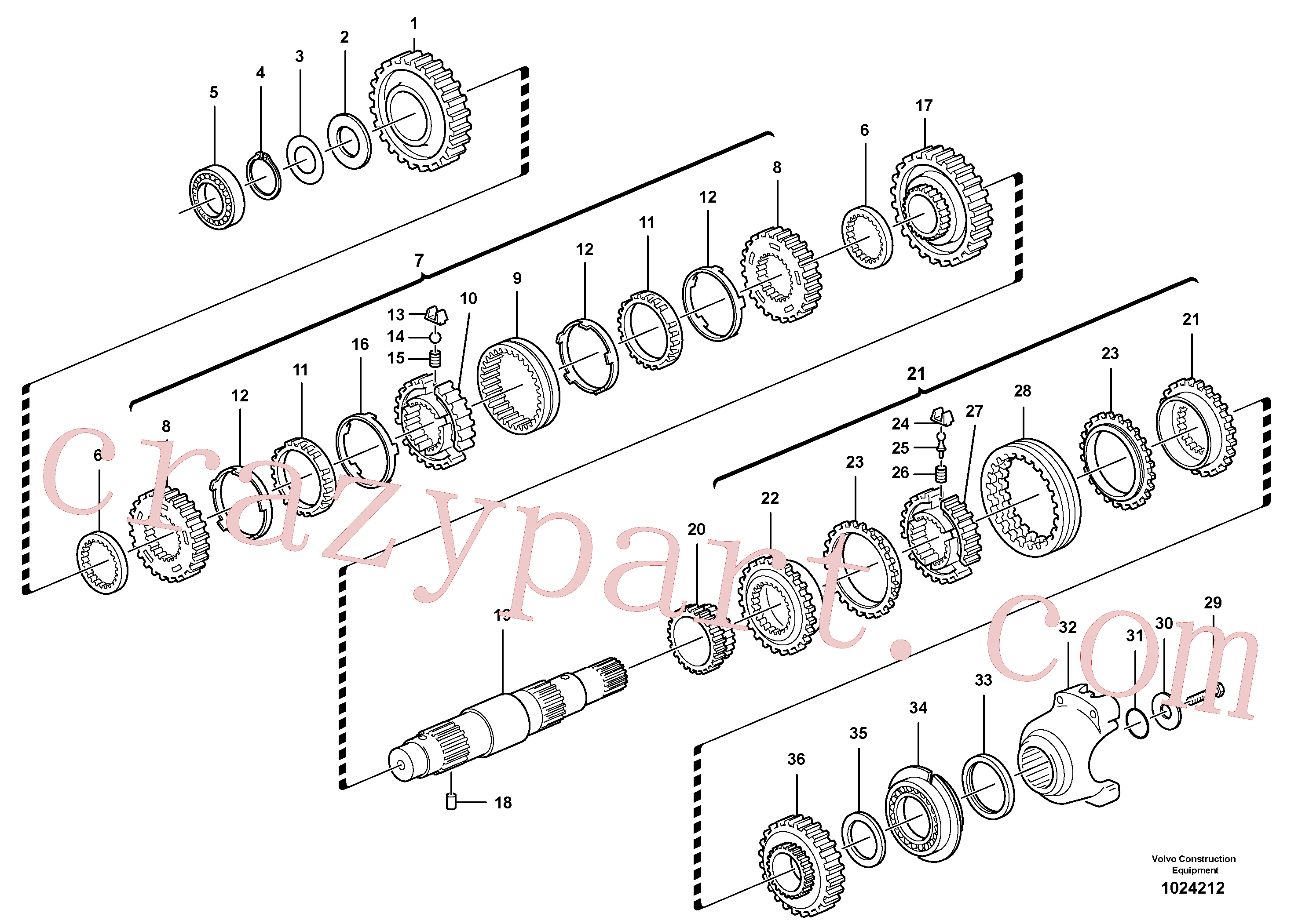 VOE11709123 for Volvo Secondary shaft(1024212 assembly)
