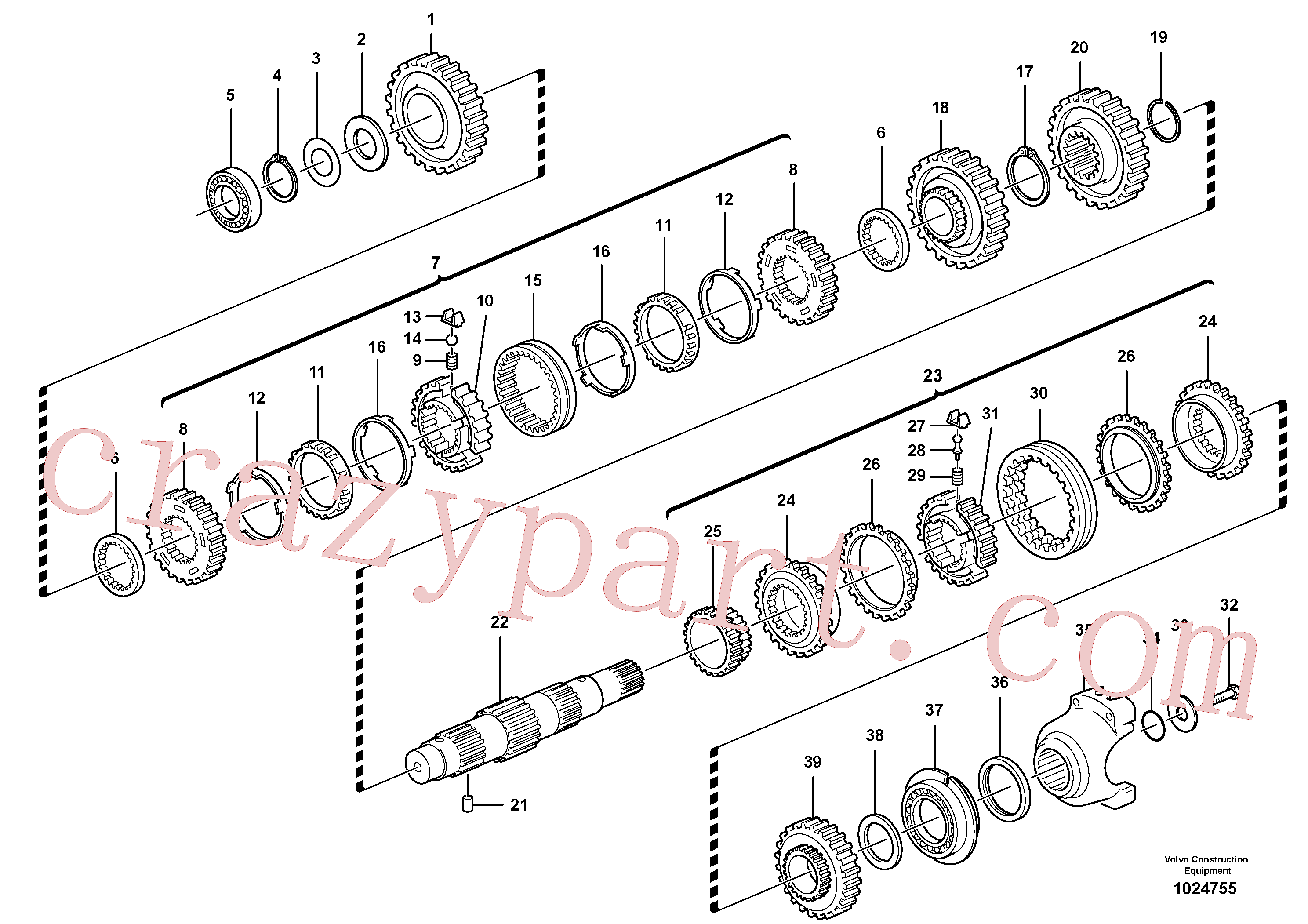 VOE11709080 for Volvo Secondary shaft(1024755 assembly)