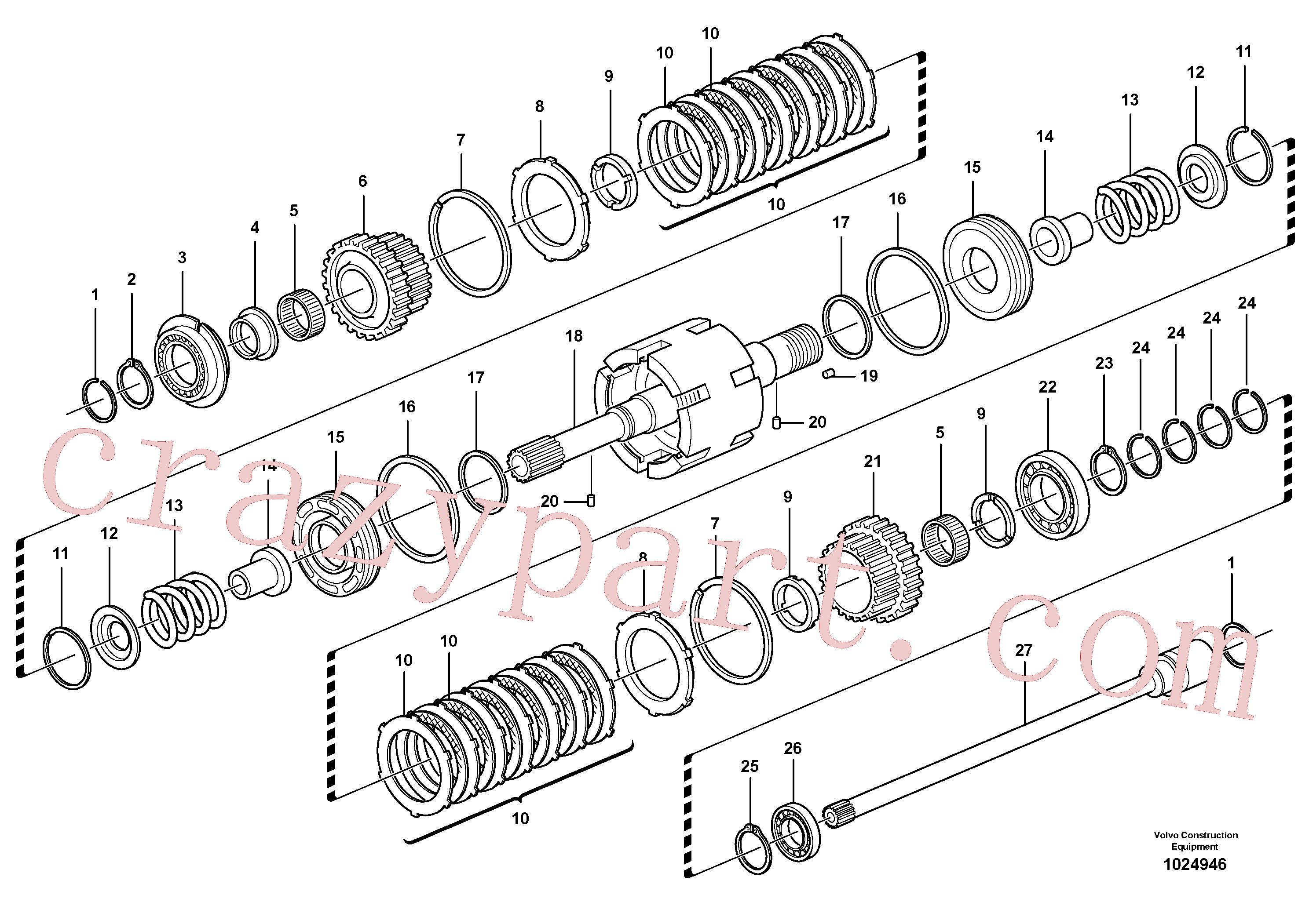 VOE11709089 for Volvo Clutch shaft forward/reverse(1024946 assembly)