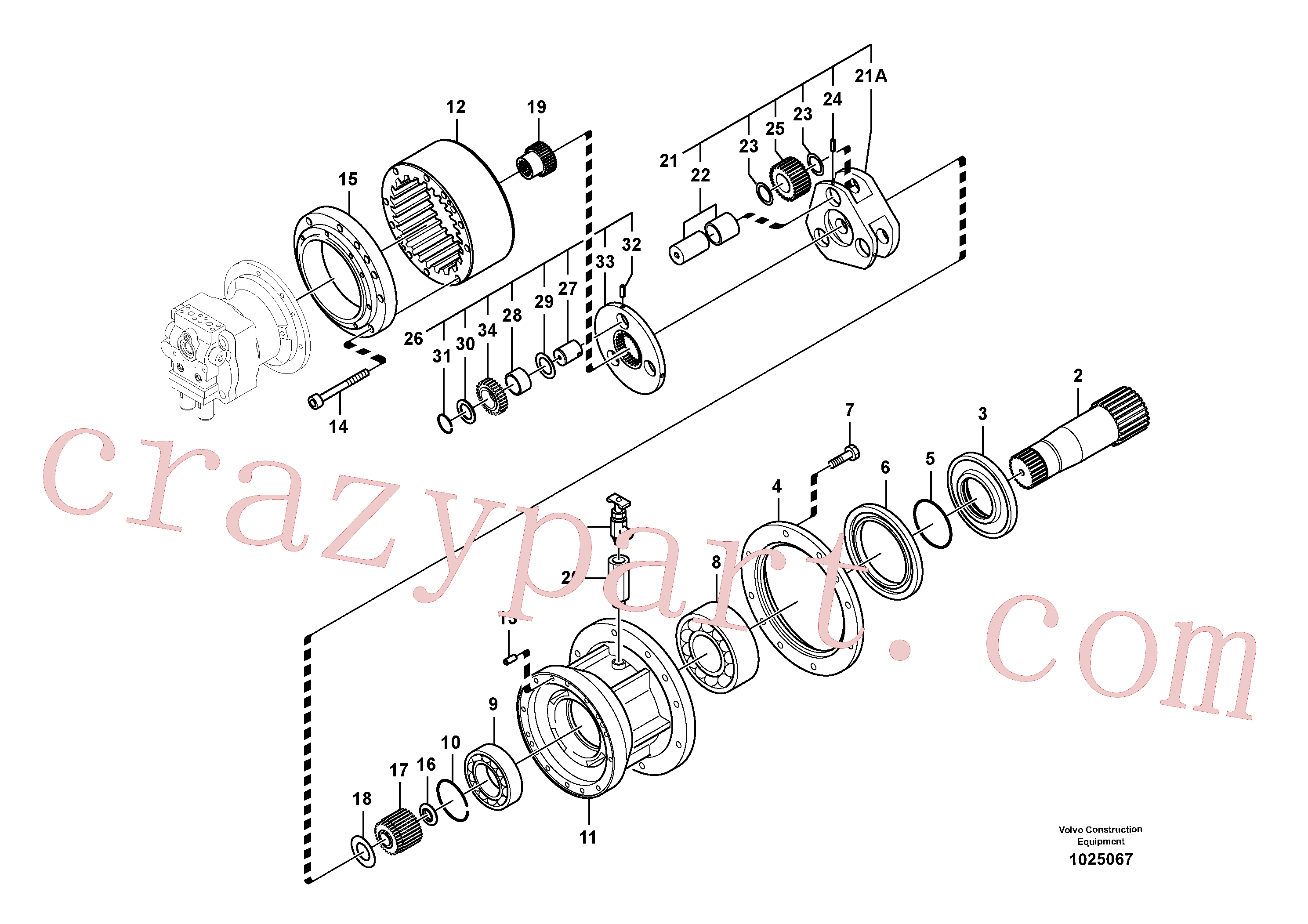SA7118-30370 for Volvo Swing gearbox(1025067 assembly)