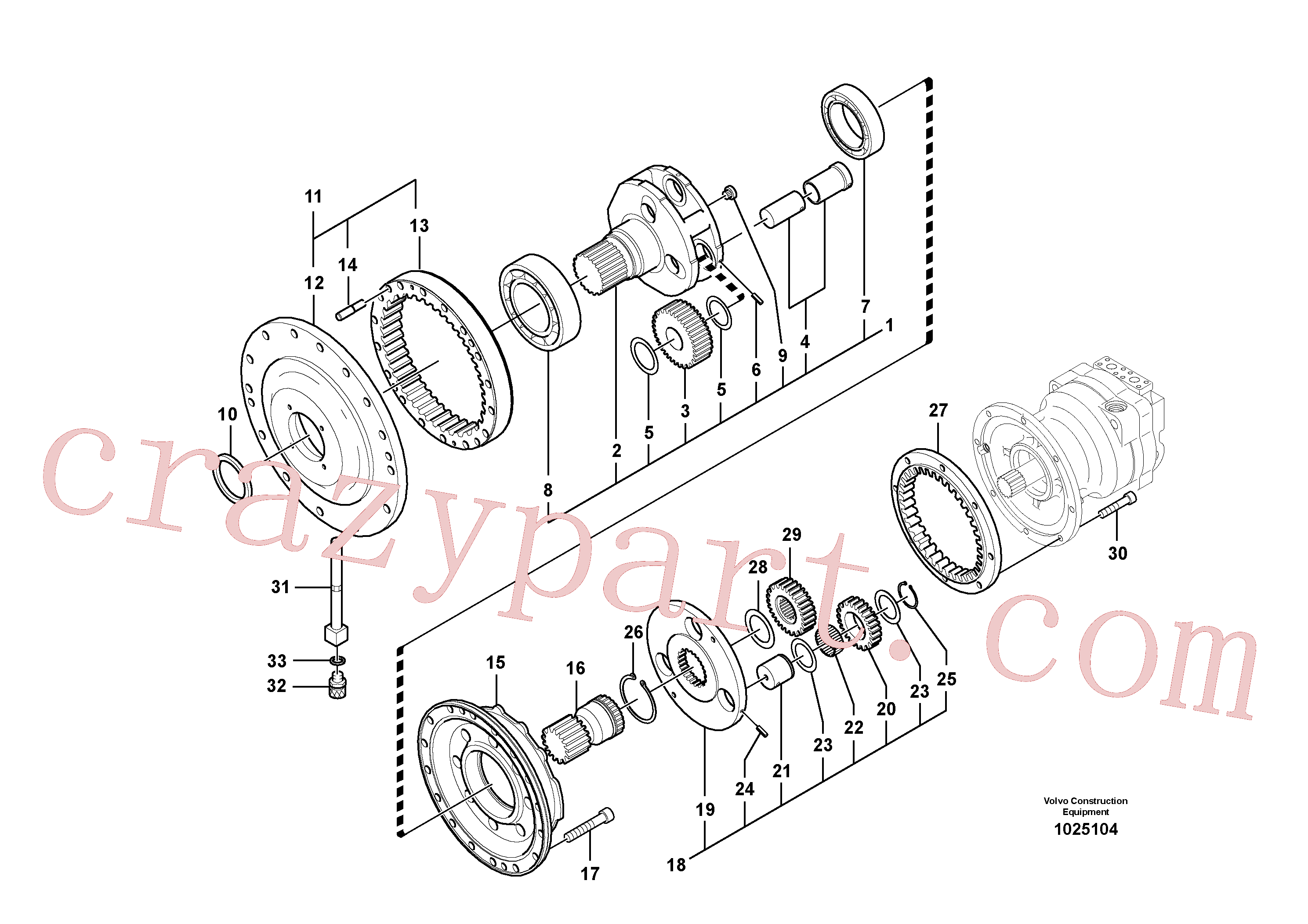 SA9541-01085 for Volvo Swing gearbox(1025104 assembly)