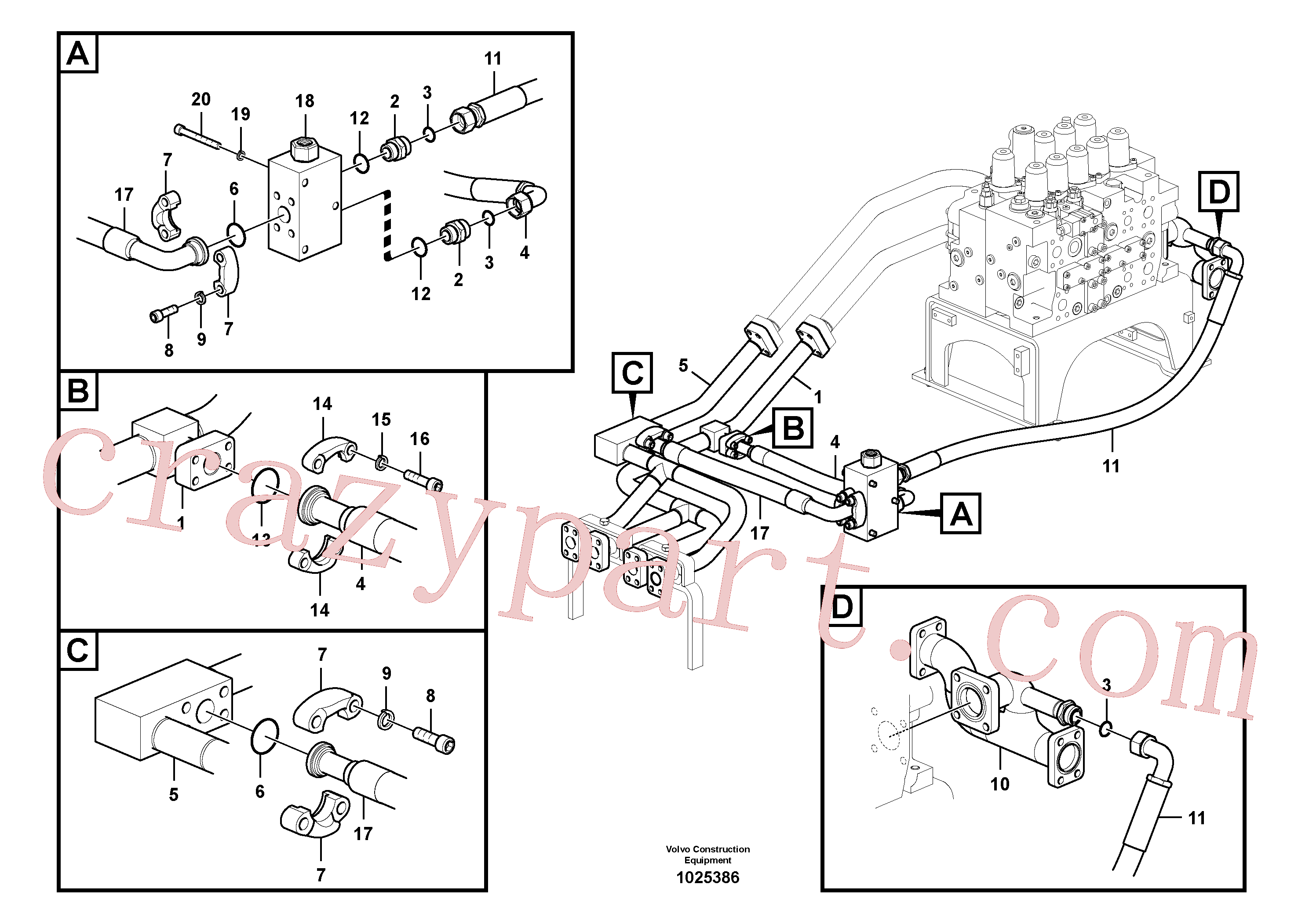 VOE14517383 for Volvo Hydraulic system, control valve to boom and swing(1025386 assembly)
