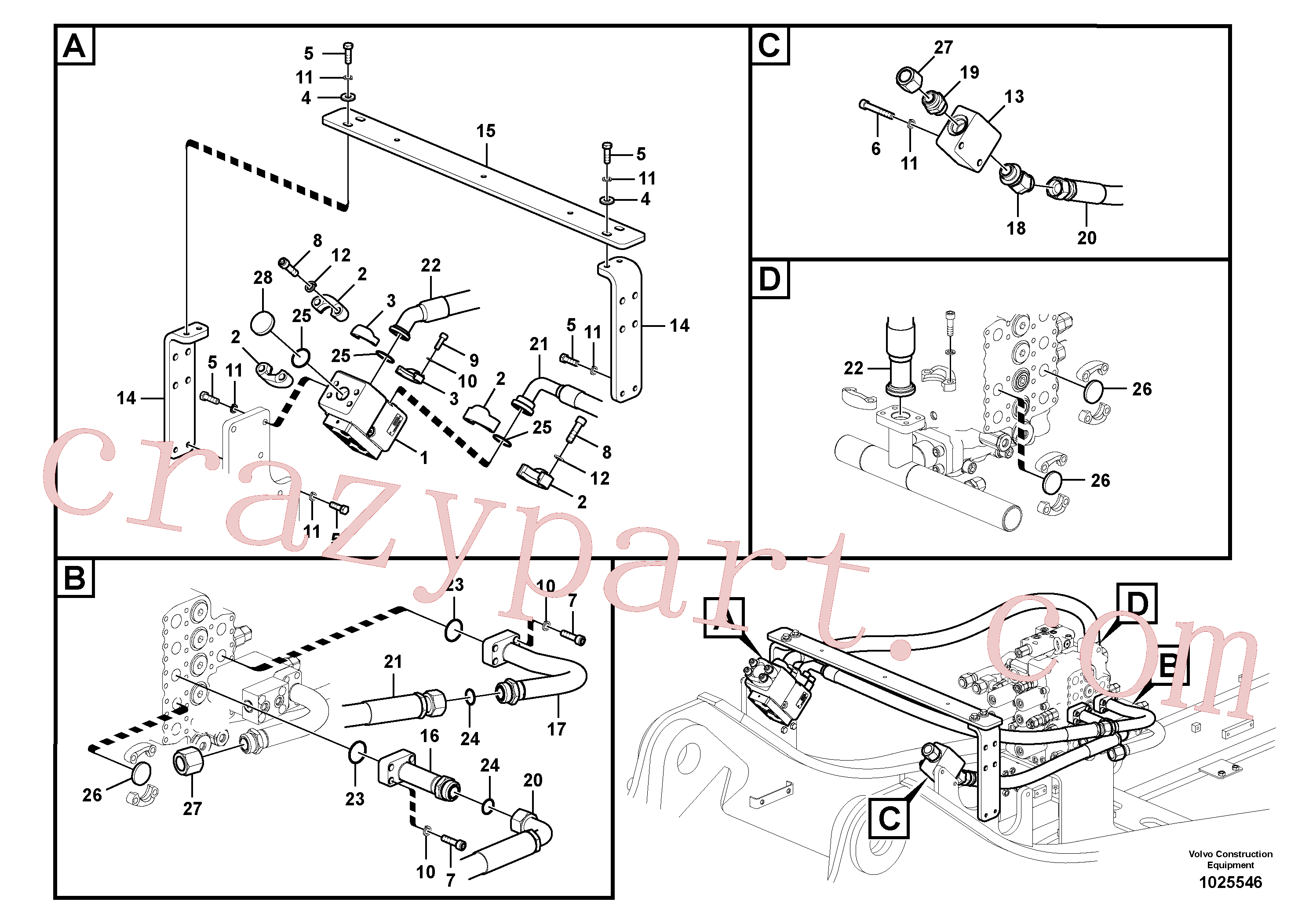 VOE14563733 for Volvo Working hydraulic, hammer and shear for upper(1025546 assembly)