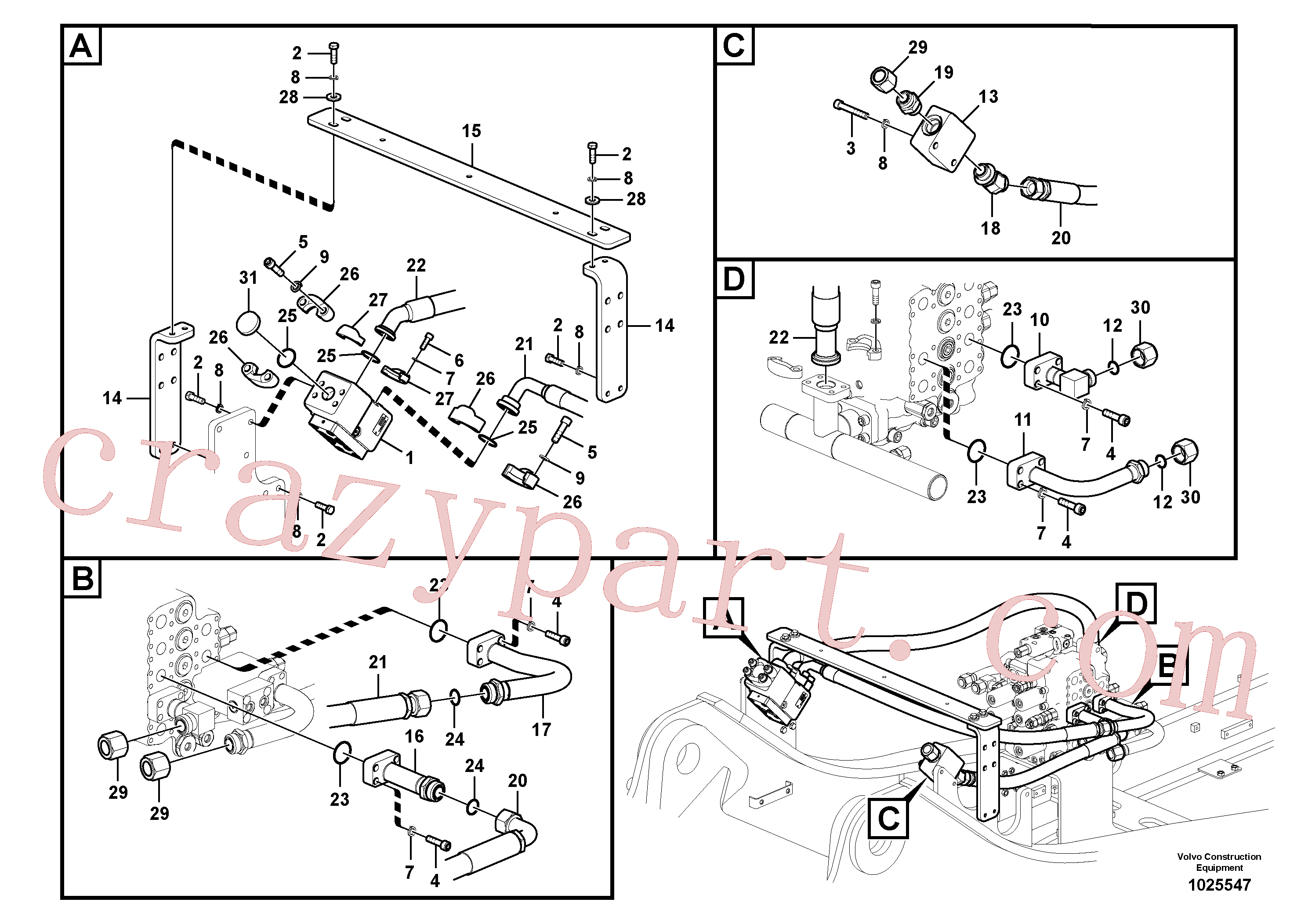 VOE14563733 for Volvo Working hydraulic, hammer and shear for upper(1025547 assembly)