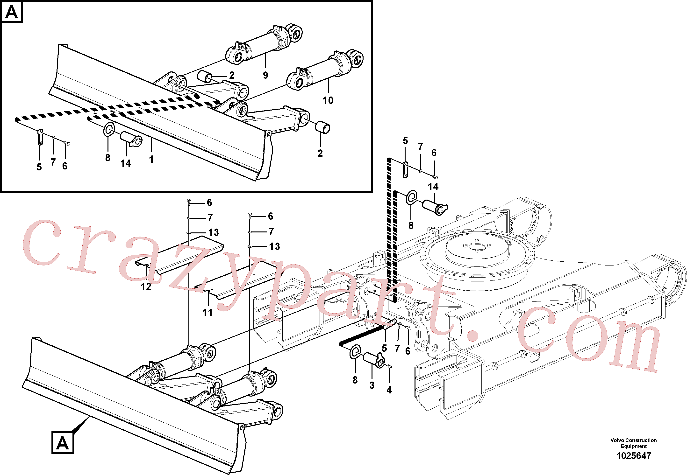 VOE14570547 for Volvo Dozer blade, Undercarriage frame(1025647 assembly)