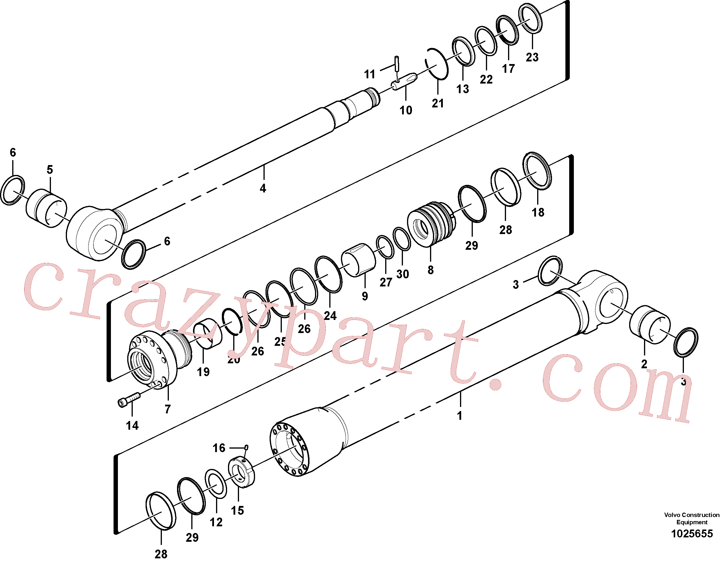 SA9511-12140 for Volvo Dipper arm cylinder(1025655 assembly)