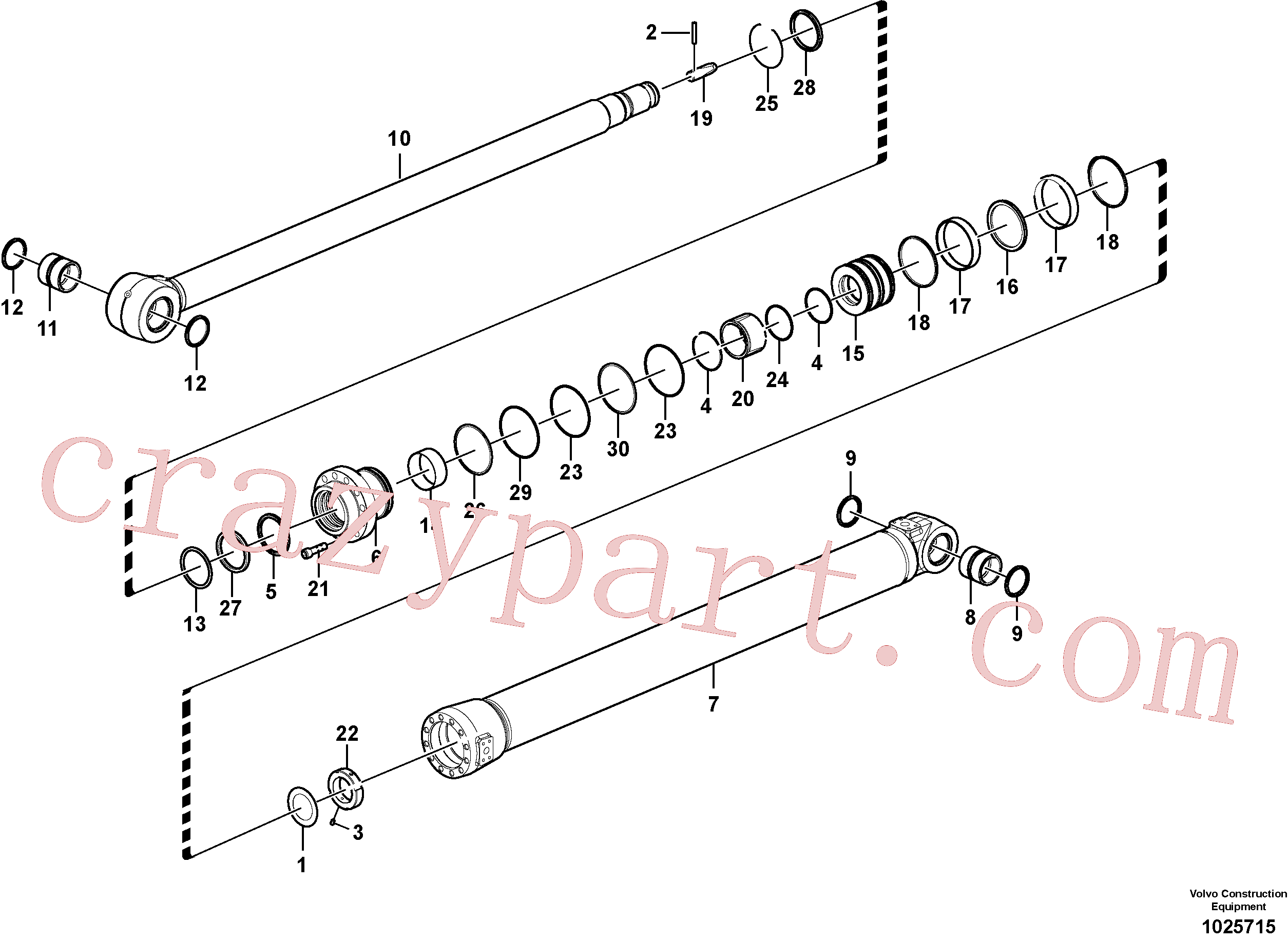 SA9556-10500 for Volvo Dipper arm cylinder(1025715 assembly)