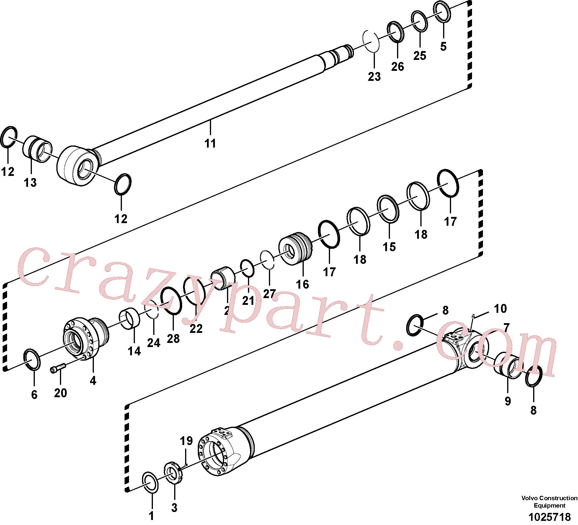 SA9556-10500 for Volvo Boom cylinder, Boom and arm cylinder(1025718 assembly)