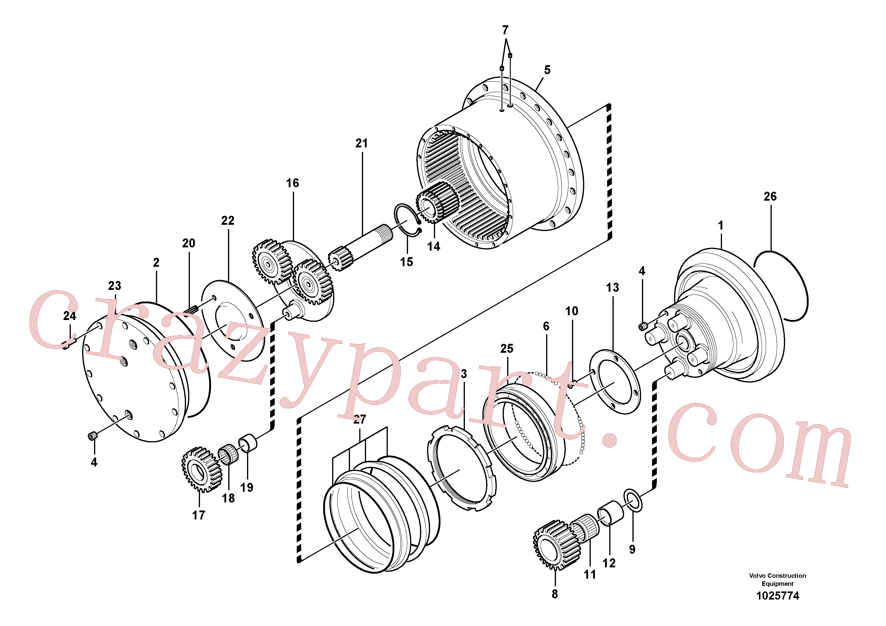 VOE14505058 for Volvo Travel gearbox(1025774 assembly)