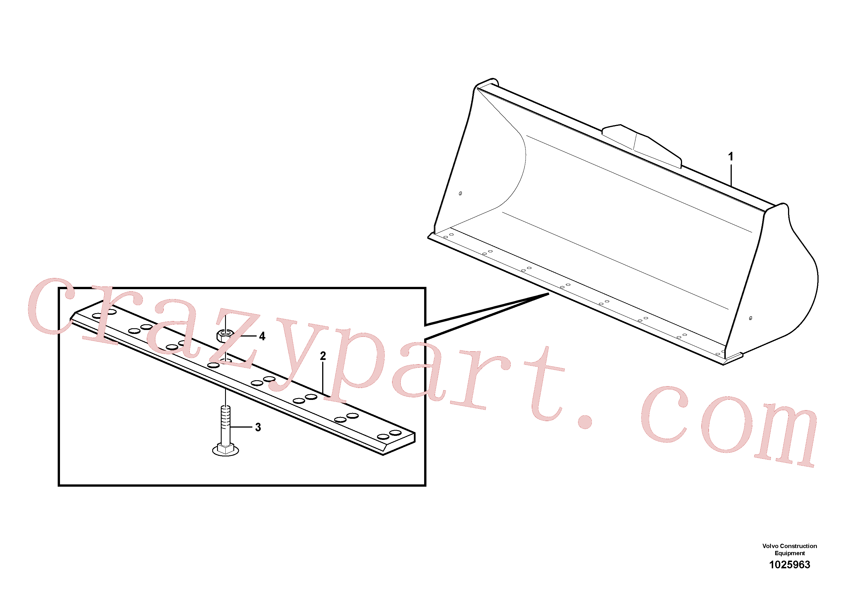 VOE11888847 for Volvo Bucket, straight lip without teeth(1025963 assembly)