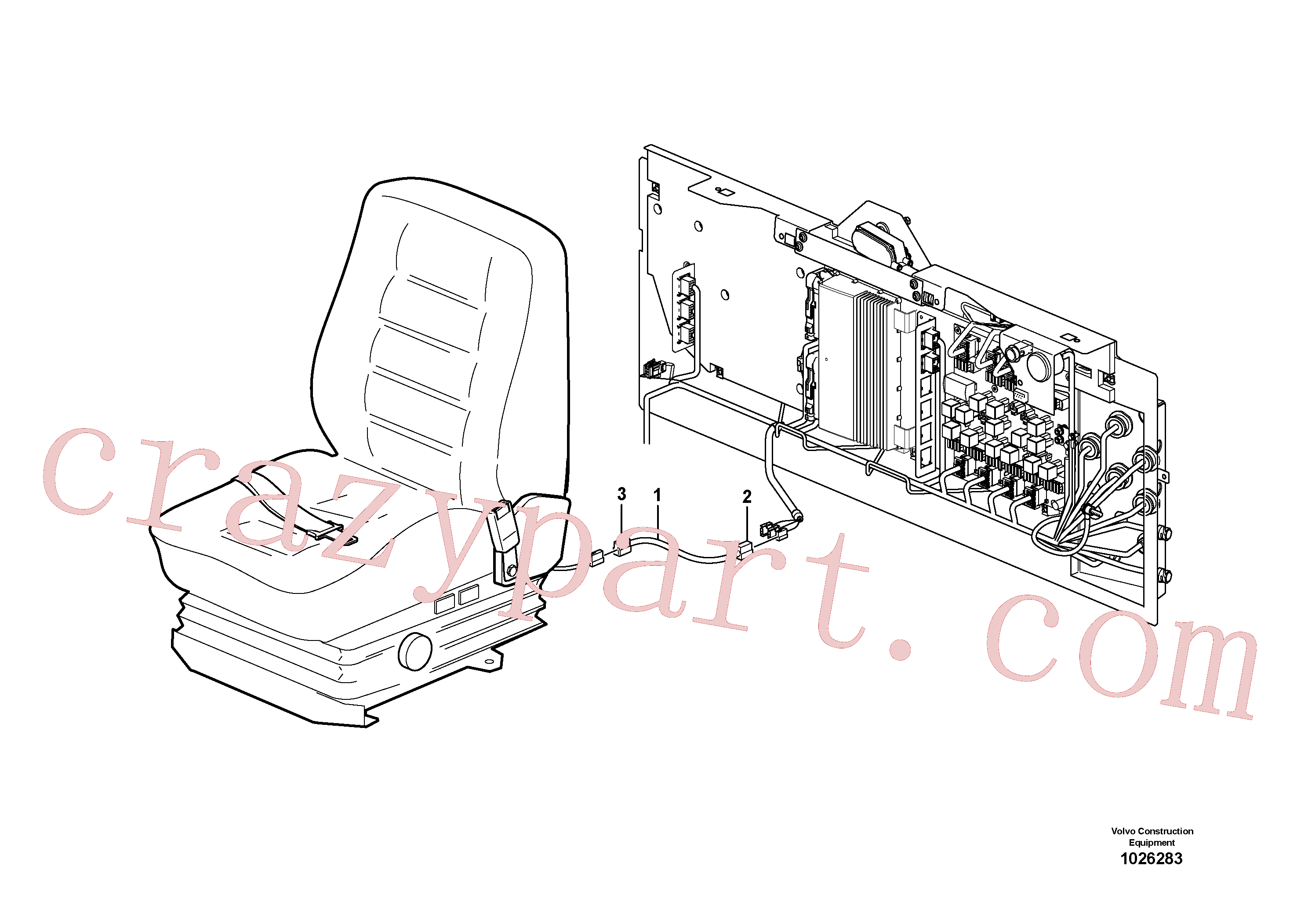 VOE14212875 for Volvo Cable harness for operator seat with heating(1026283 assembly)
