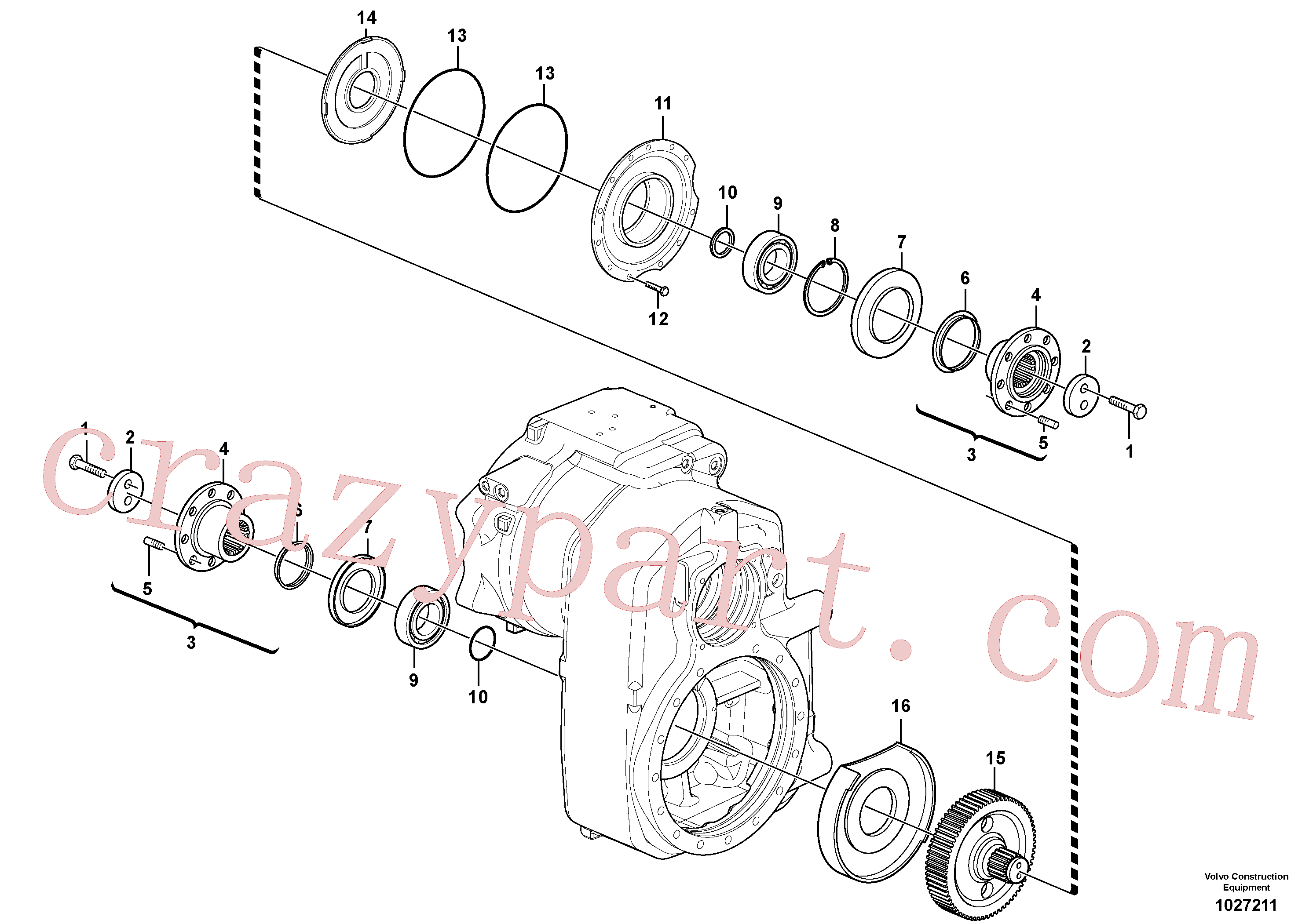 VOE15079041 for Volvo Transfer case, gears and shafts(1027211 assembly)