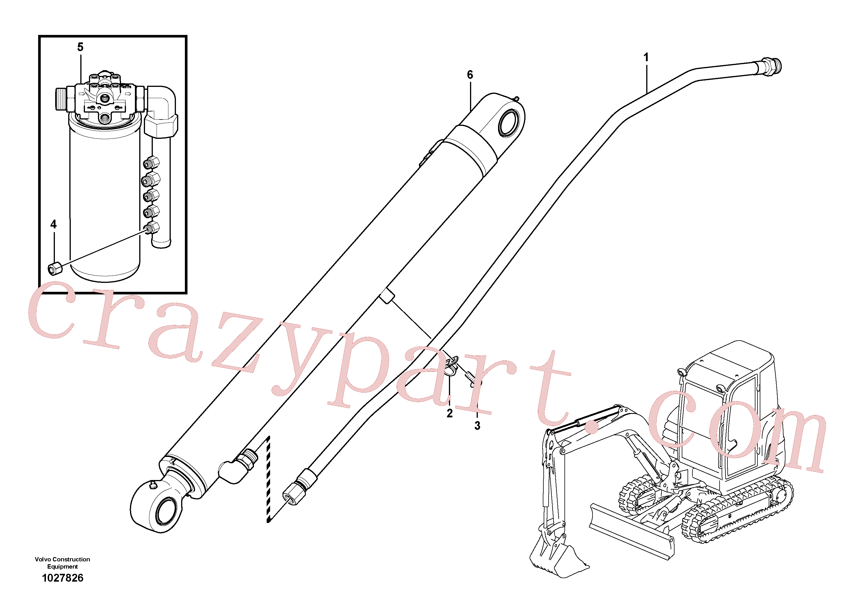 VOE967531 for Volvo Working hydraulic, boom(1027826 assembly)