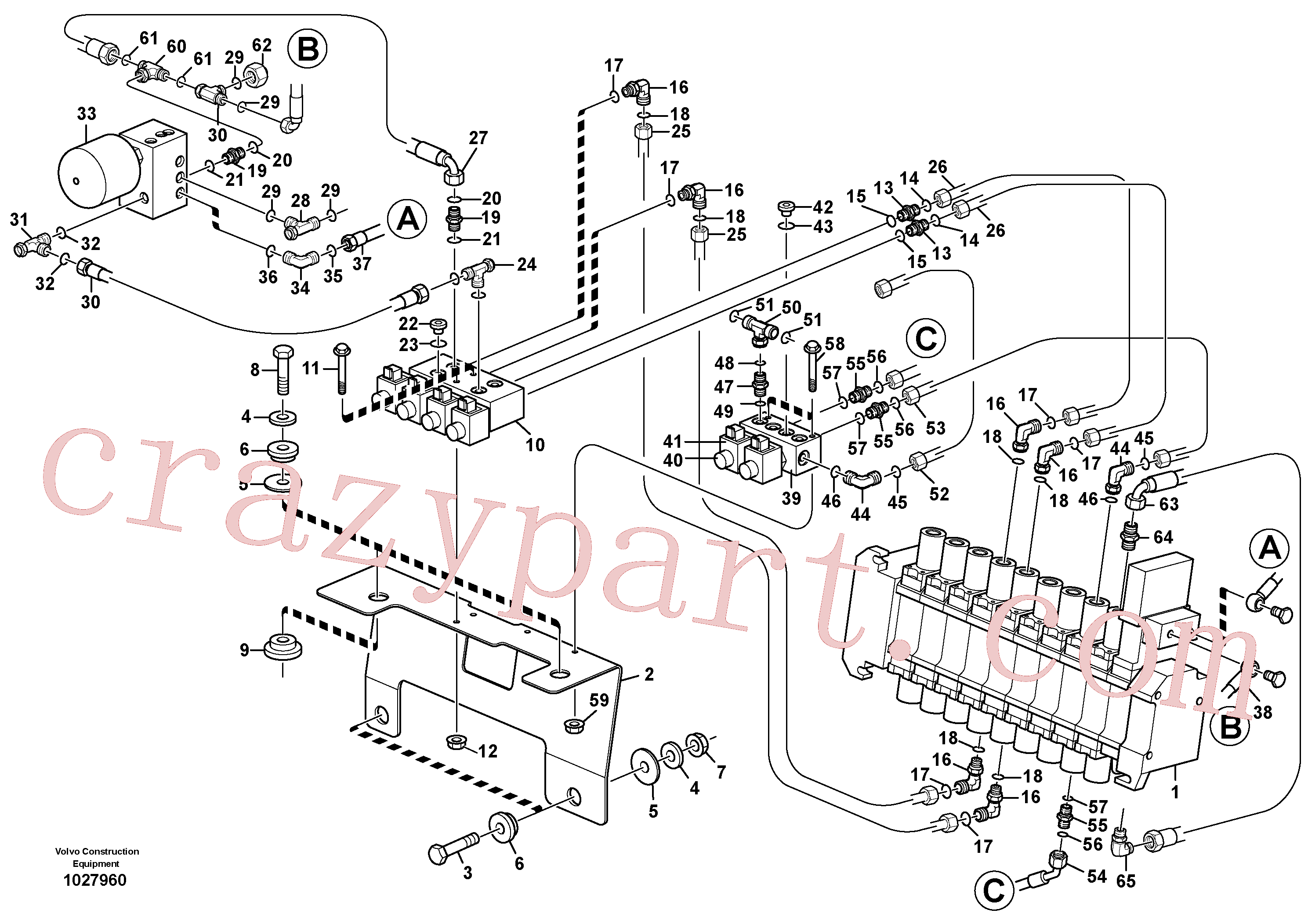 VOE11801755 for Volvo Hydraulic system pilot excavator controls(1027960 assembly)