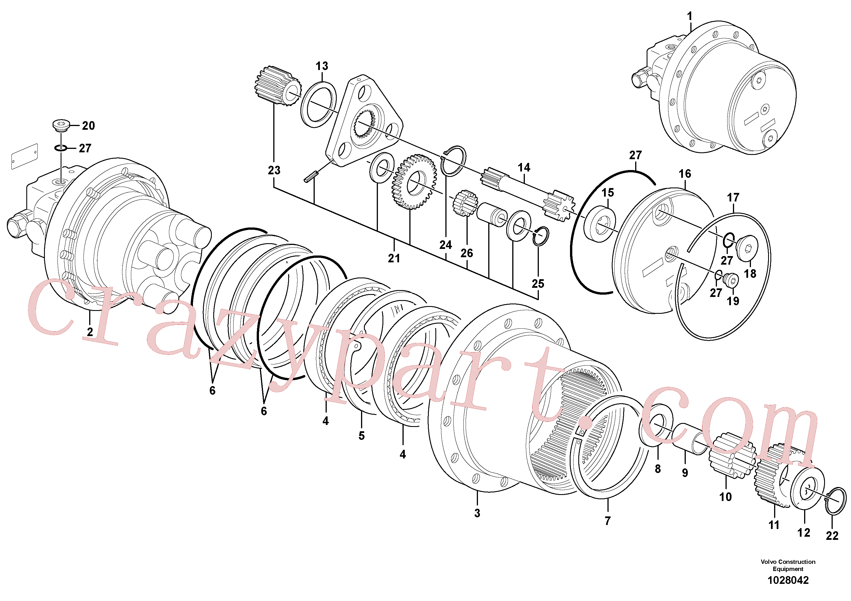 PJ7414584 for Volvo Hydraulic travelling motor(1028042 assembly)