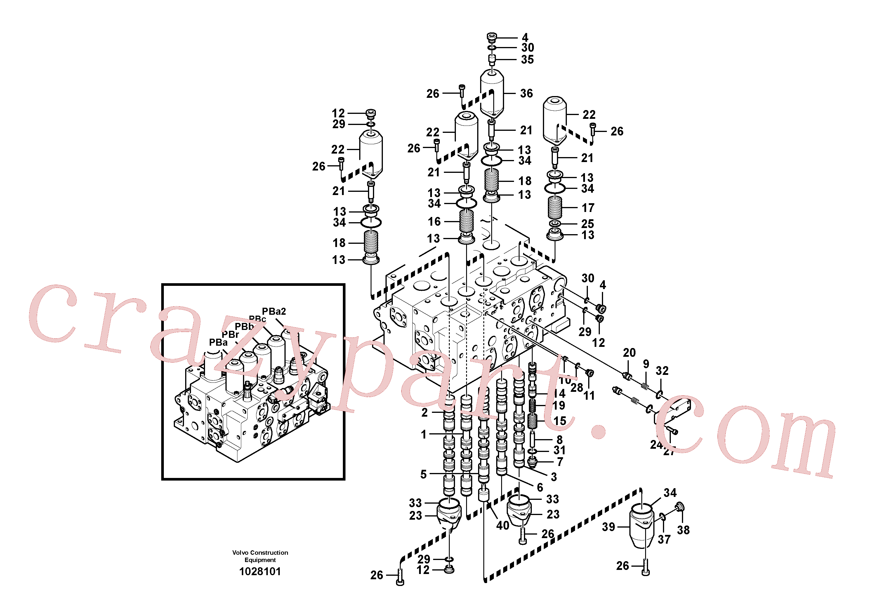 VOE14577708 for Volvo Main control valve, boom and bucket and travel Rh(1028101 assembly)