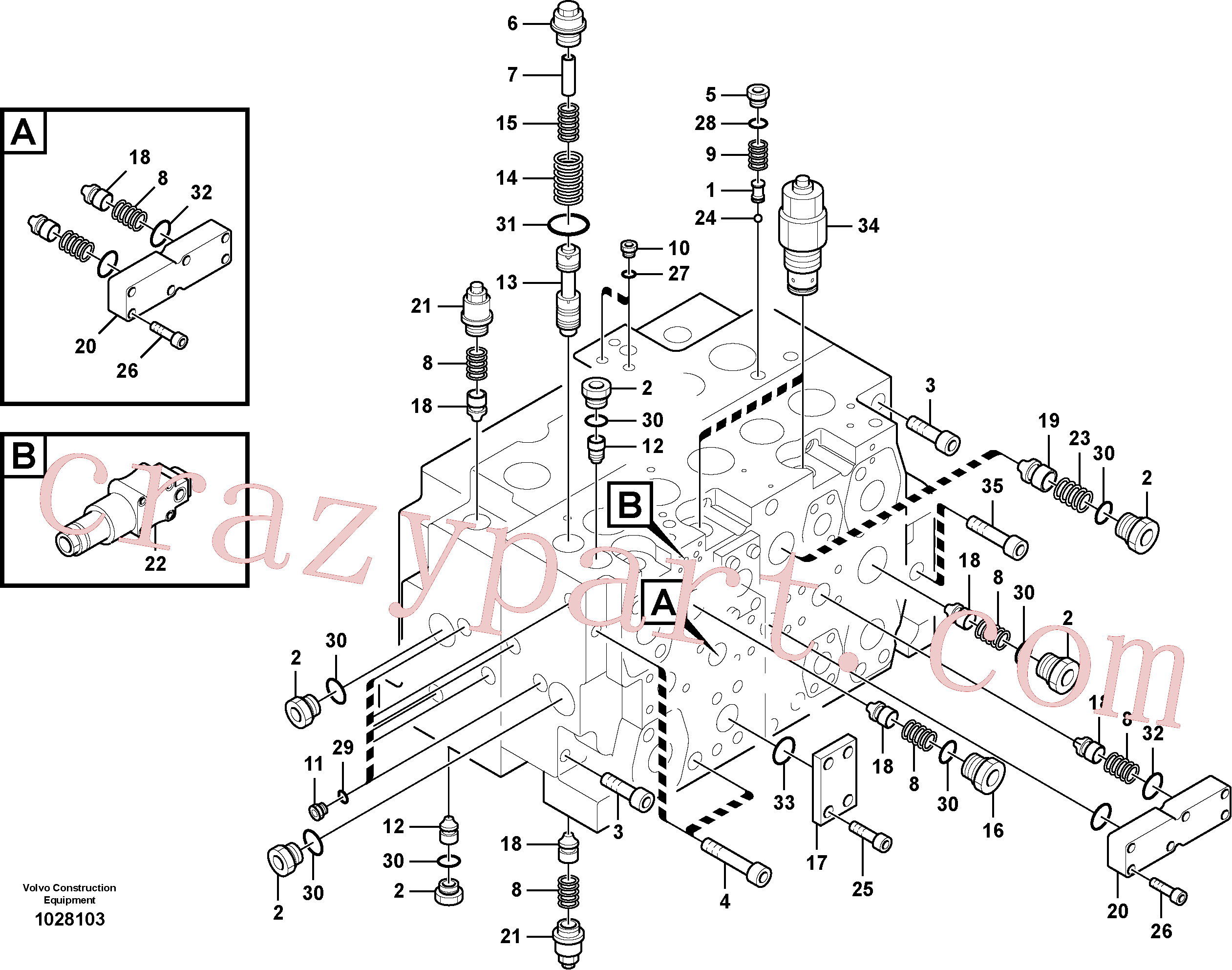 SA8230-36410 for Volvo Main control valve, Main control valve, relief valve and dipper arm holding(1028103 assembly)