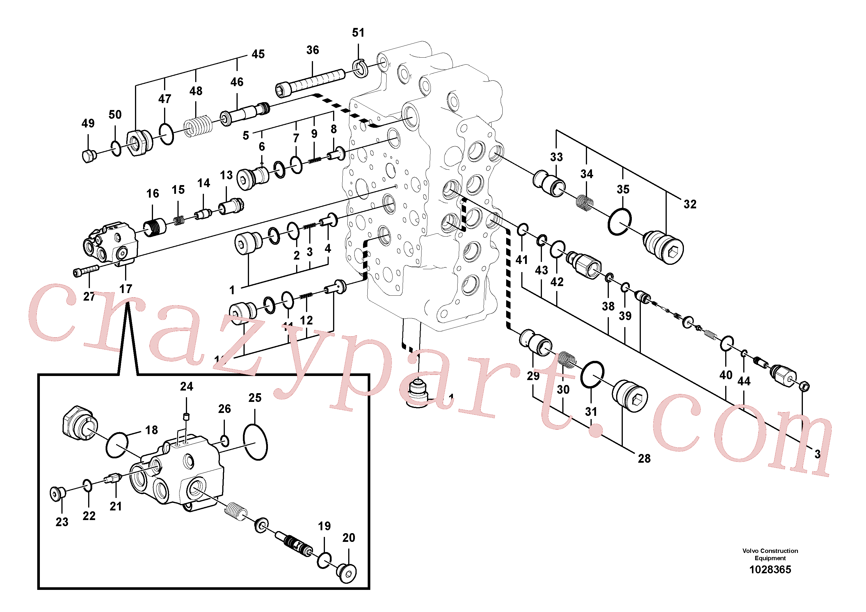 VOE983542 for Volvo Main control valve(1028365 assembly)