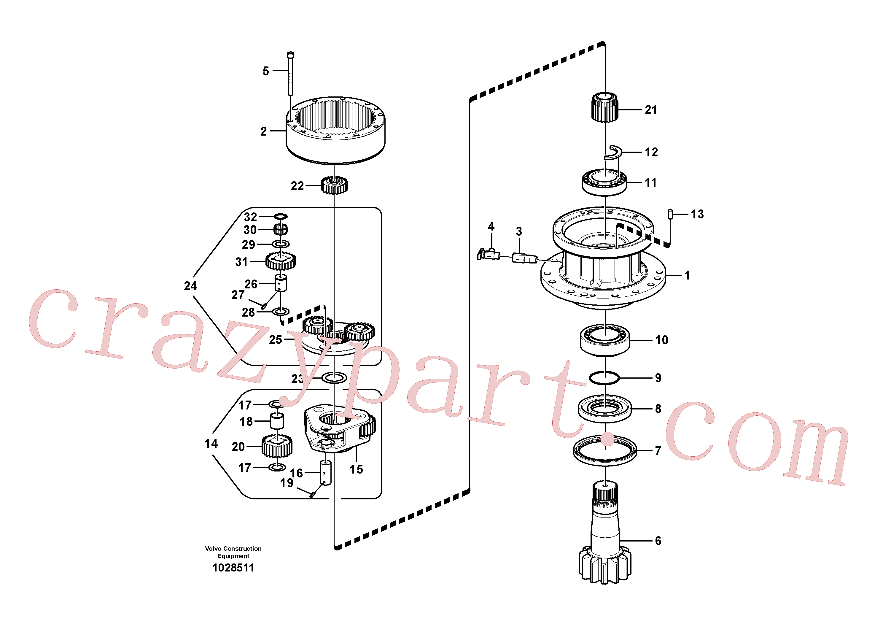 SA7118-23240 for Volvo Swing gearbox(1028511 assembly)