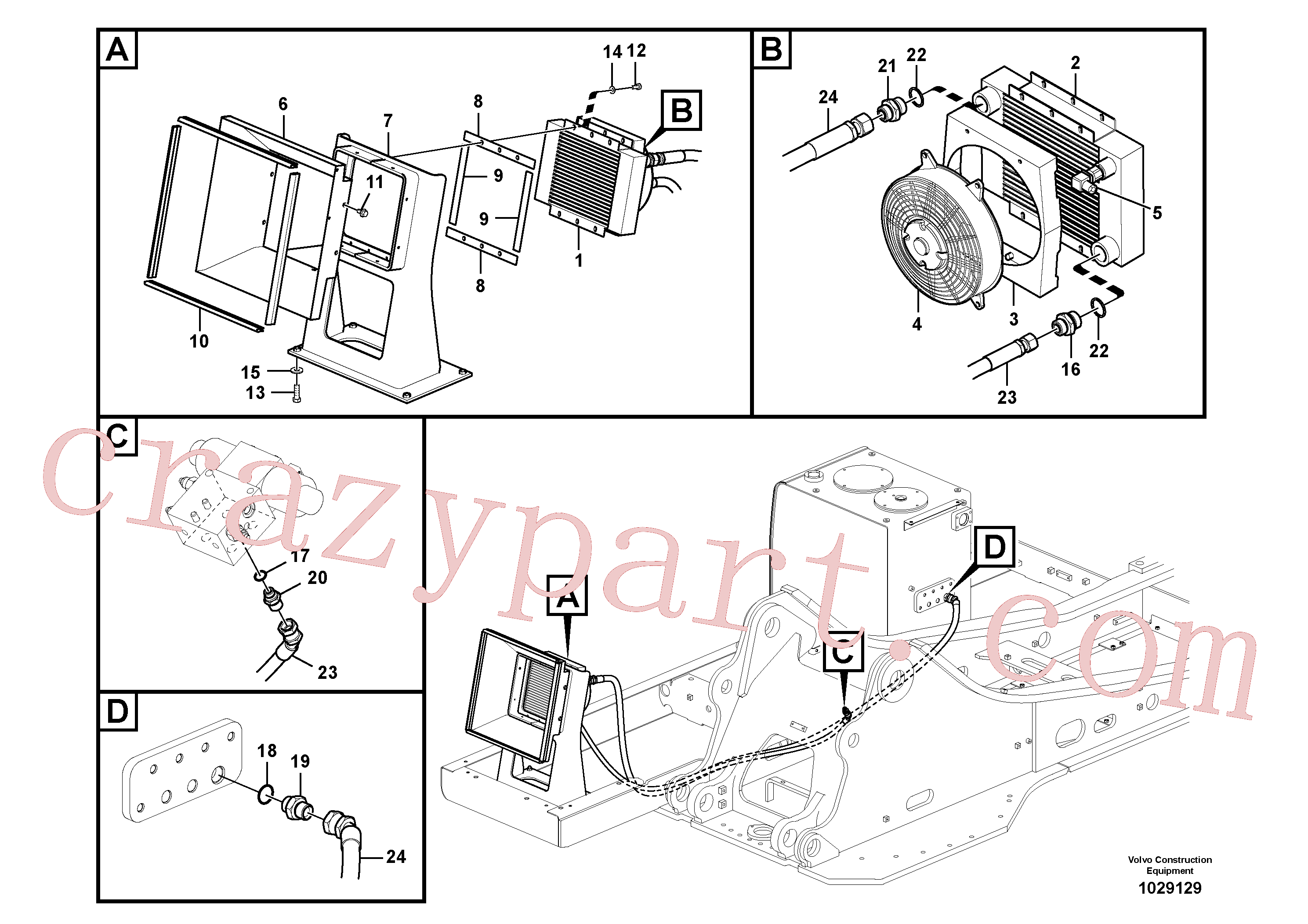 SA9412-12190 for Volvo Hydraulic system, hydraulic tank to hydraulic oil cooler(1029129 assembly)