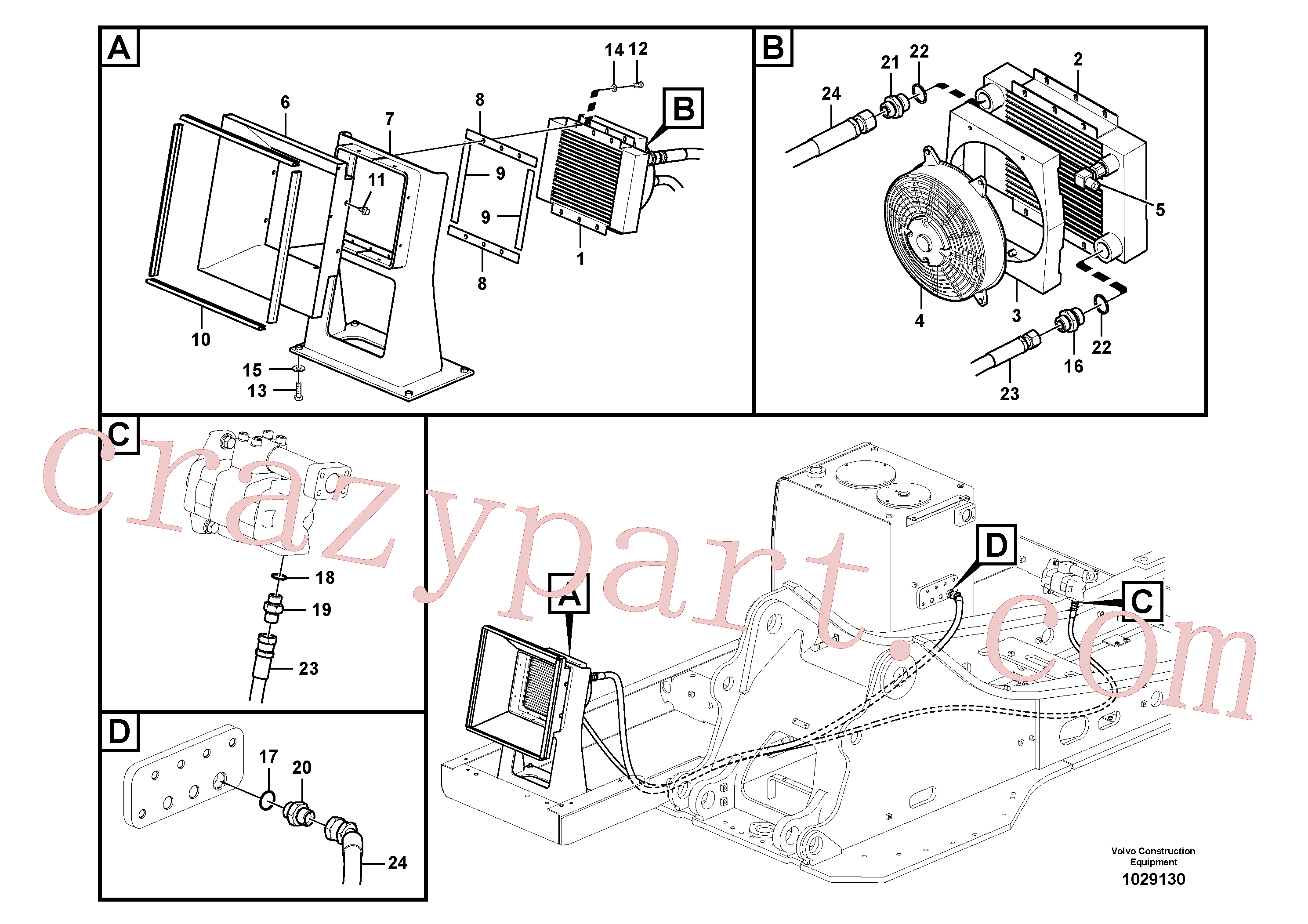 SA9412-12190 for Volvo Hydraulic system, hydraulic tank to hydraulic oil cooler(1029130 assembly)