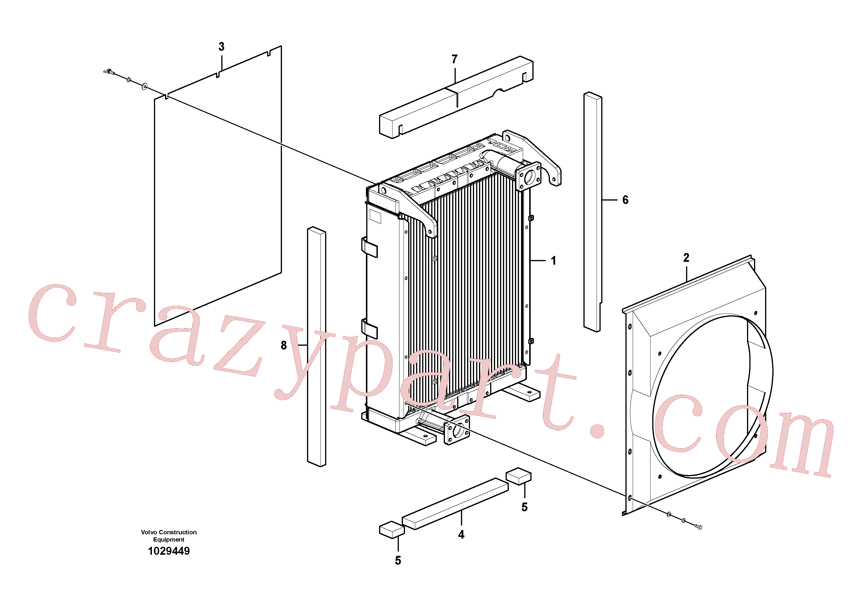 VOE14588826 for Volvo Hydraulic system, oil cooler(1029449 assembly)
