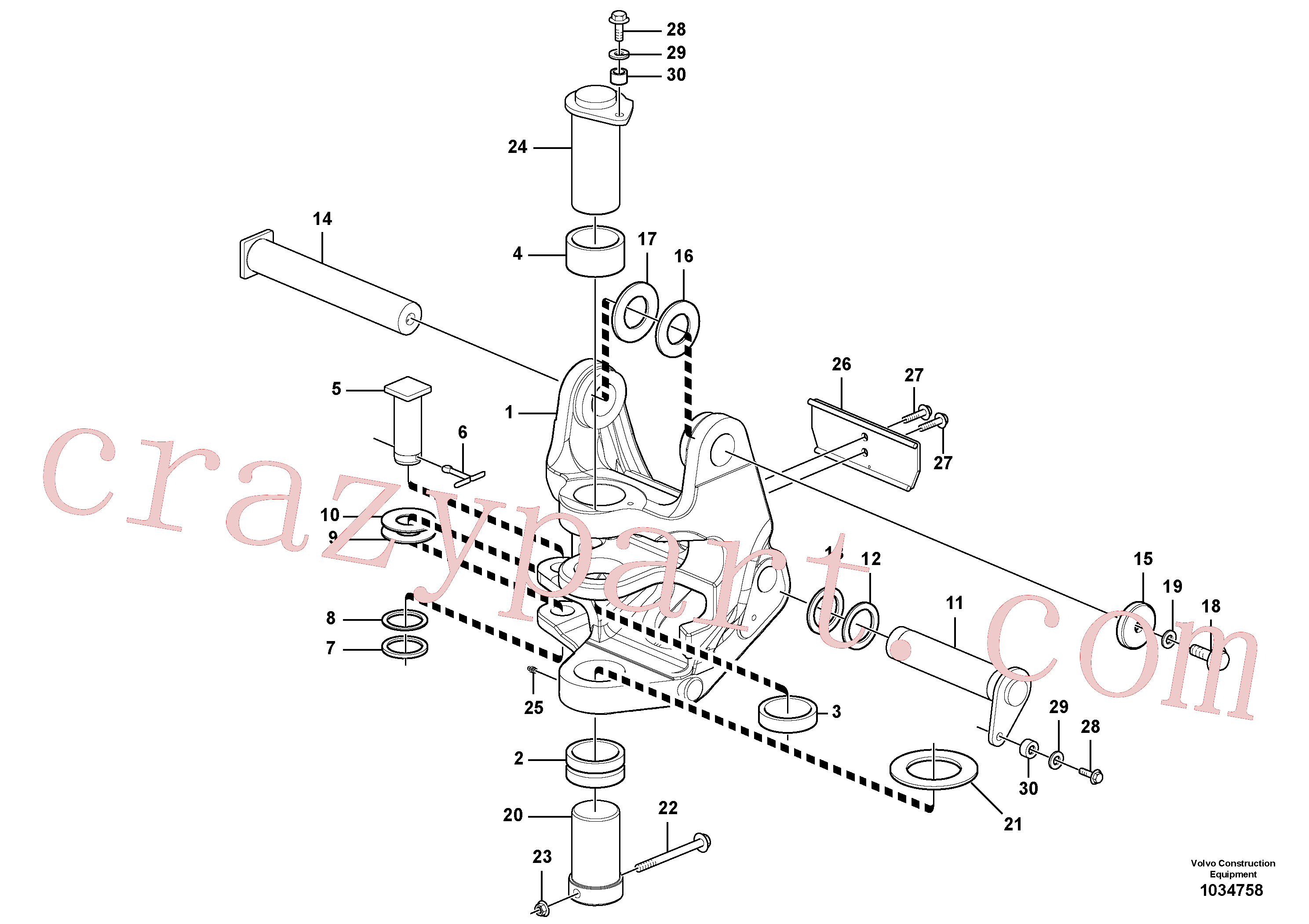 VOE11802031 for Volvo Pivot pin(1034758 assembly)
