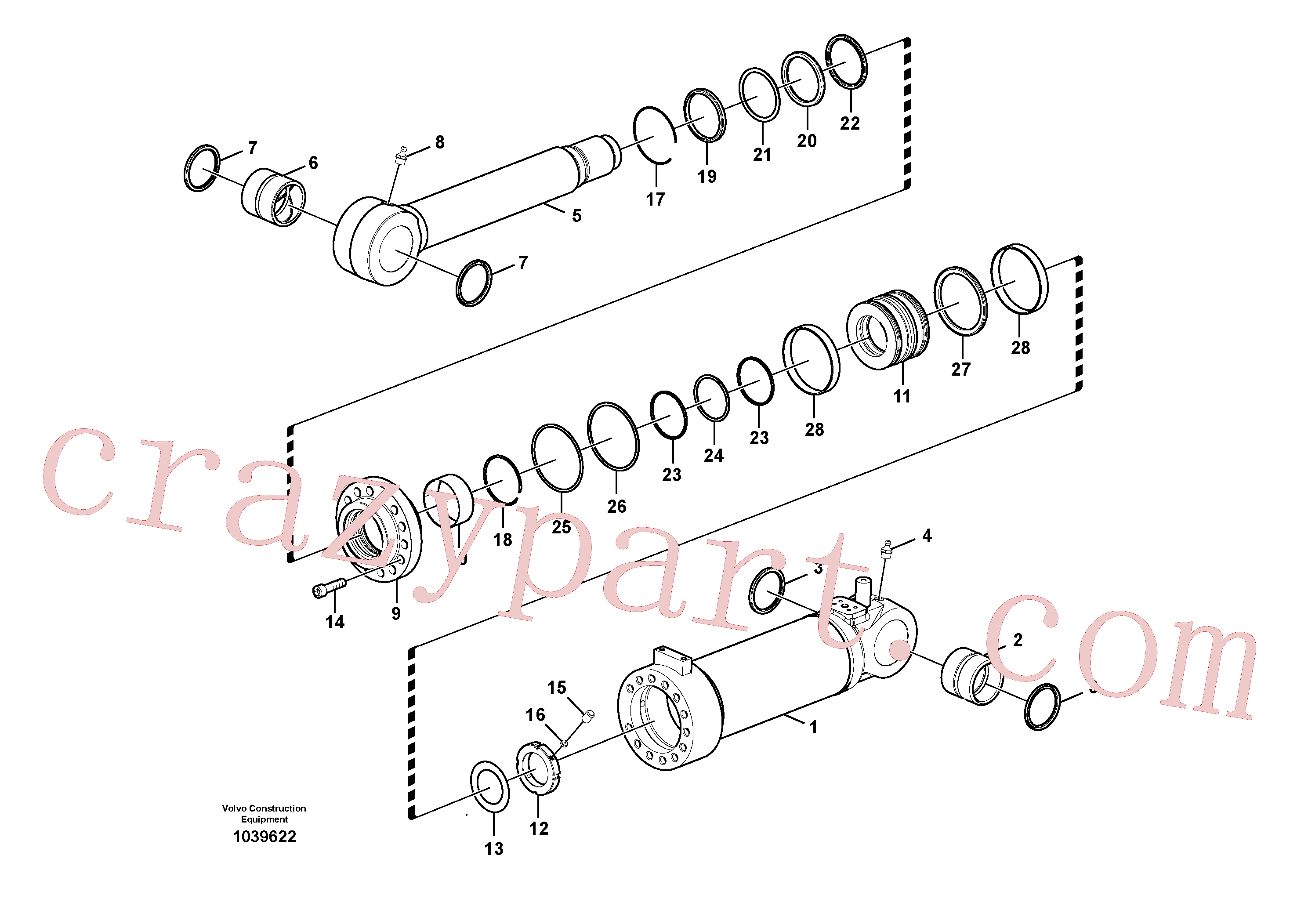 SA1146-05880 for Volvo Dozer blade cylinder(1039622 assembly)