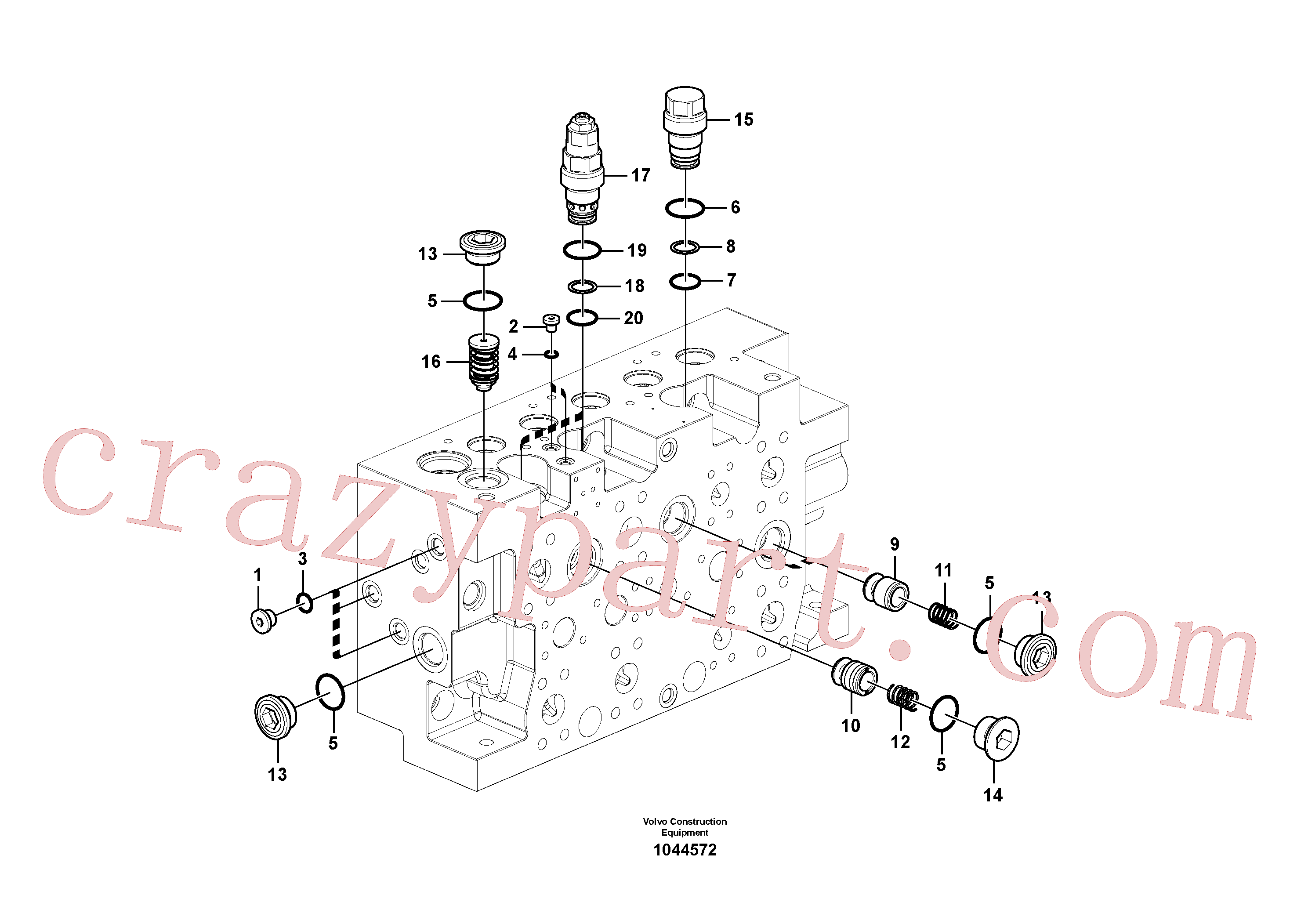 VOE14577735 for Volvo Main control valve(1044572 assembly)