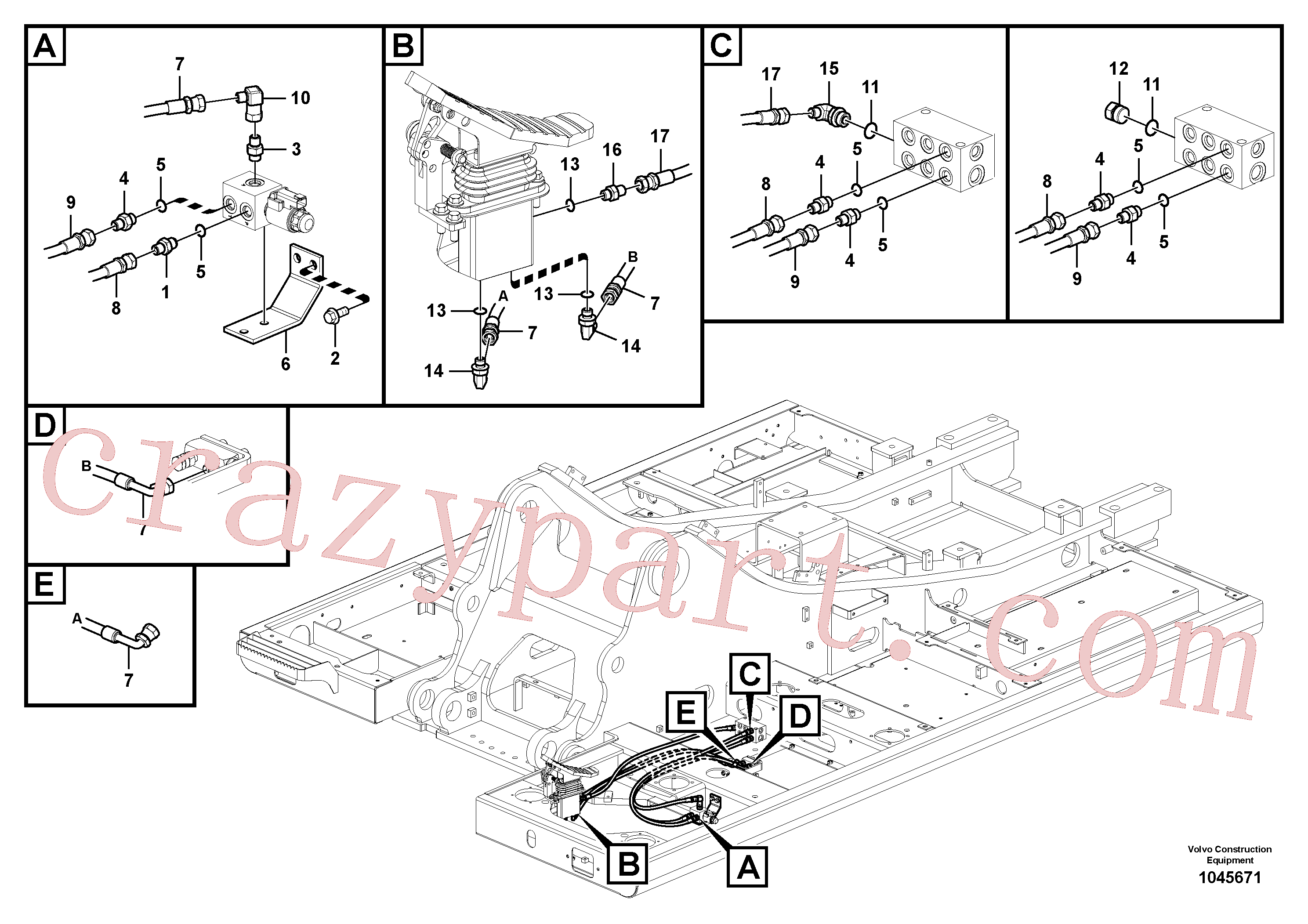 SA9451-02221 for Volvo Working hydraulic, hammer and shear for upper(1045671 assembly)