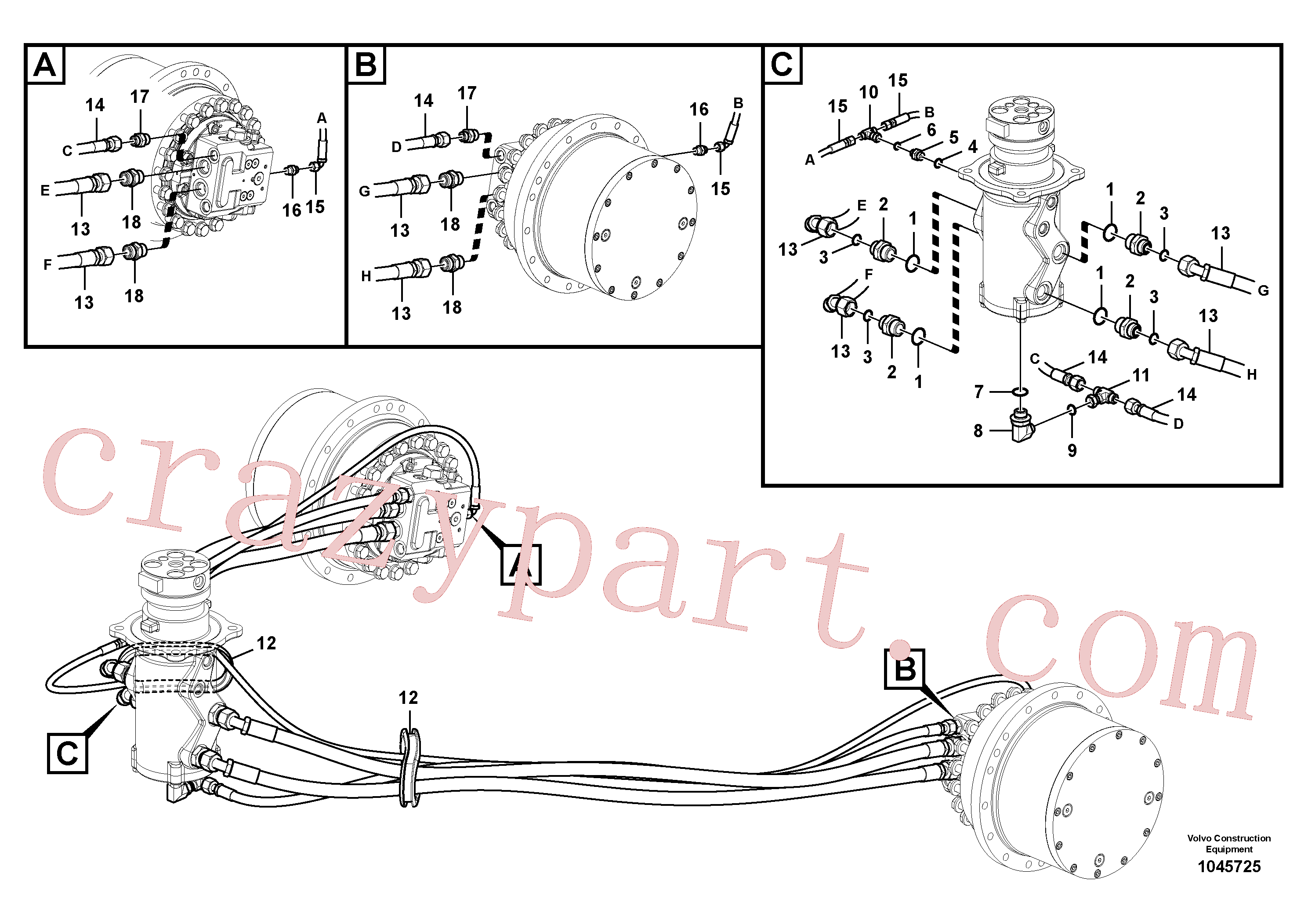 VOE938187 for Volvo Turning joint line, turning joint to travel motor(1045725 assembly)