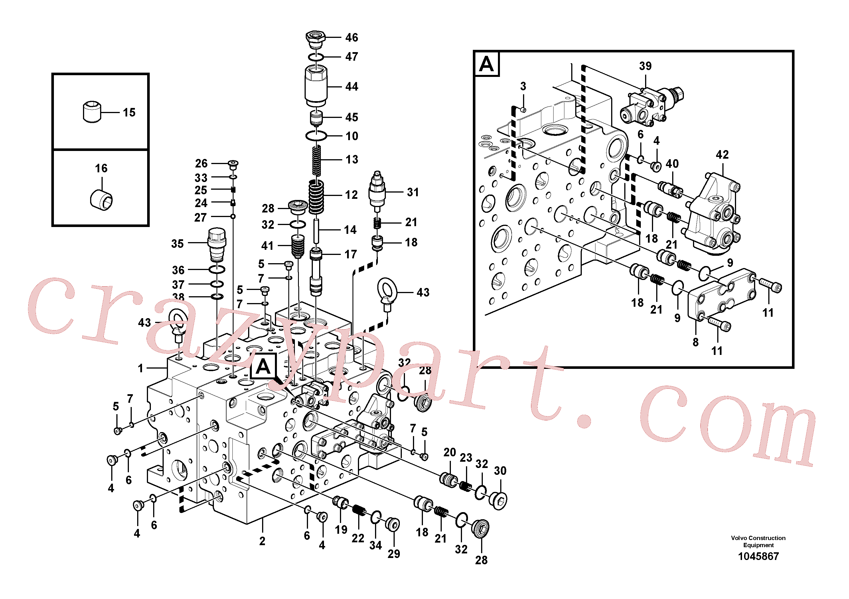 VOE14577790 for Volvo Main control valve(1045867 assembly)