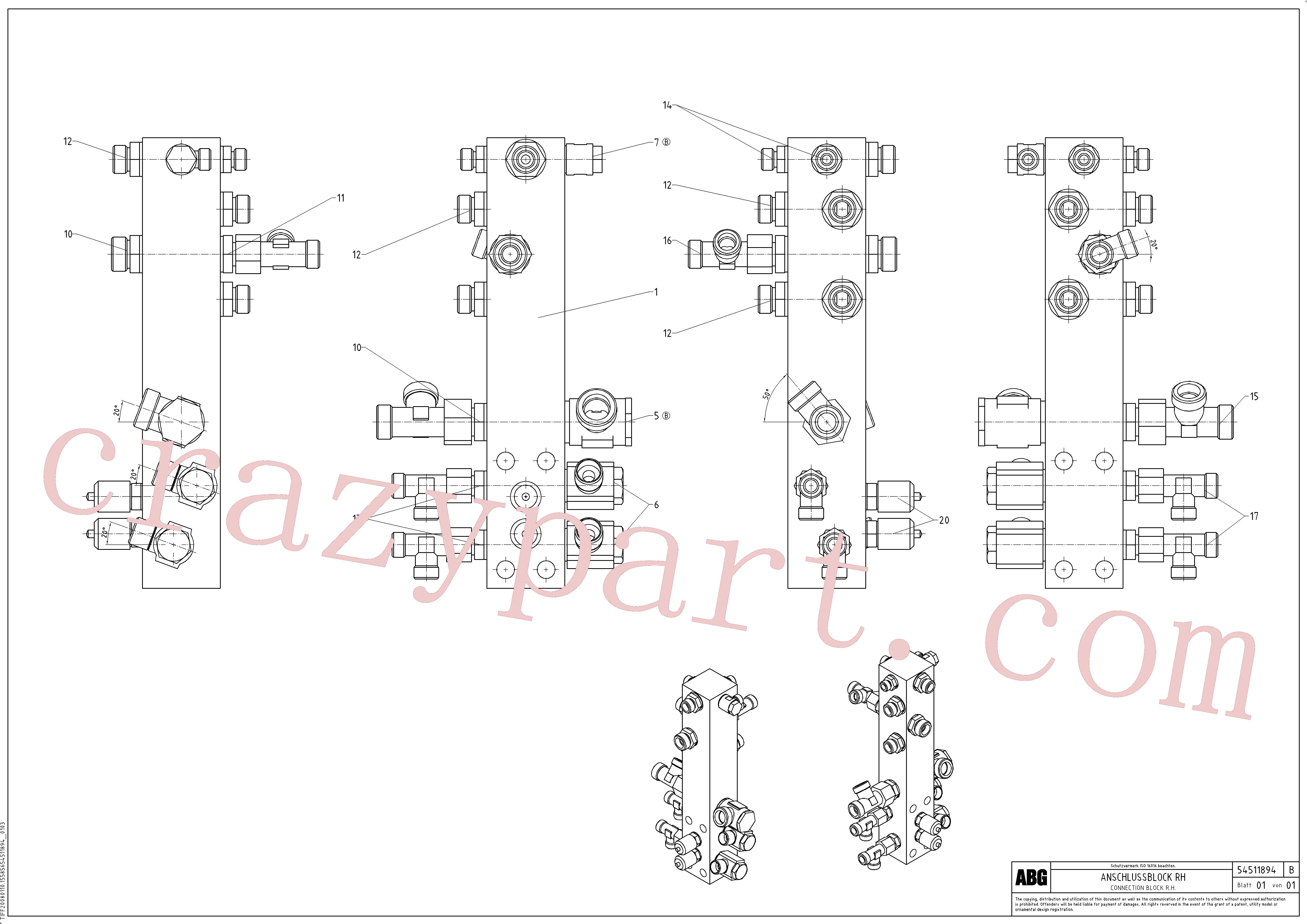 RM58833856 for Volvo Connection block on basic screed(1046663 assembly)