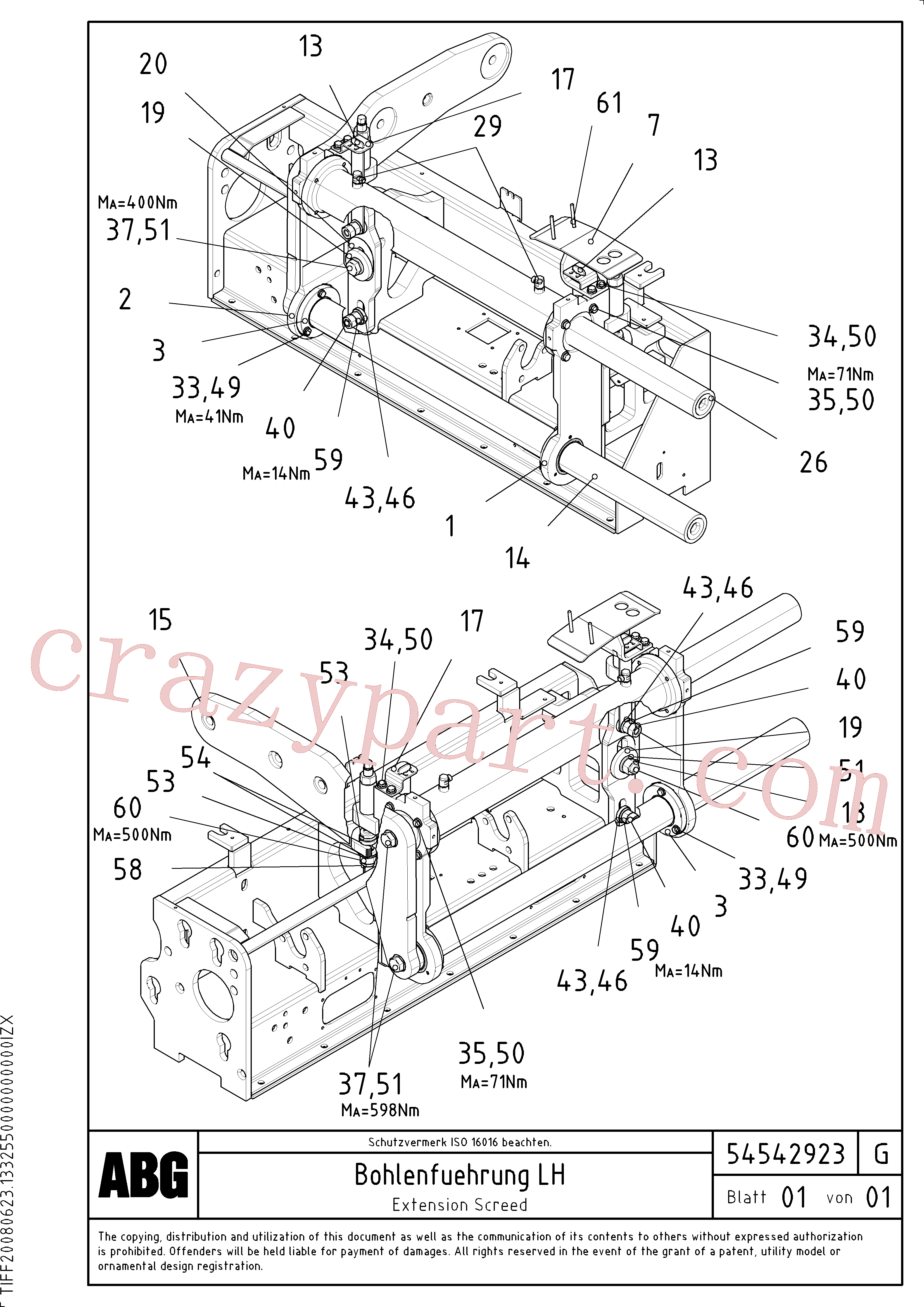 RM96724208 for Volvo Extendable screed, Extension screed, Screed guide for extendable screed, Extension with mechanical holder, bushing and synchronizing cylinder(1046698 assembly)