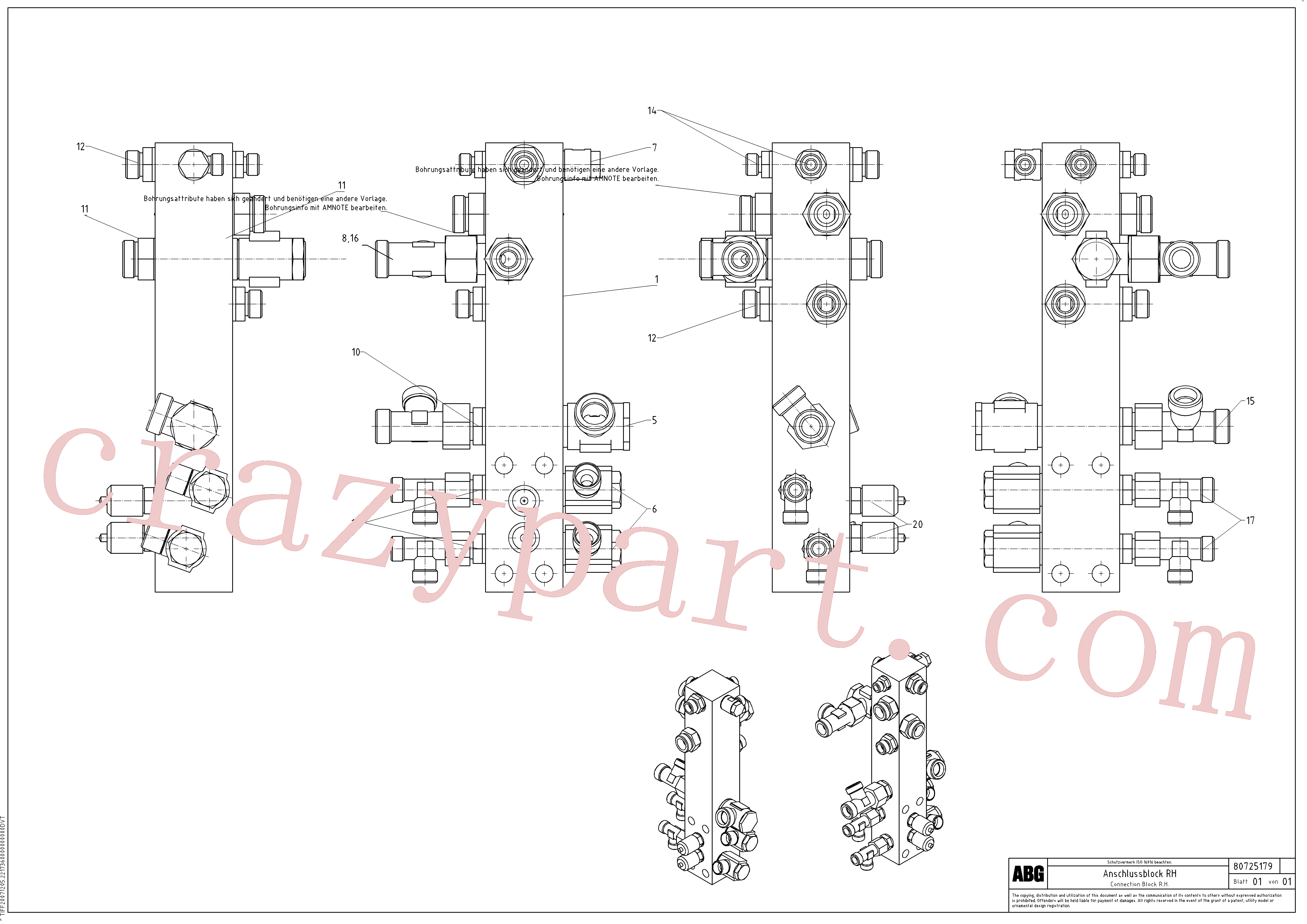 RM58833856 for Volvo Connection block on basic screed(1047389 assembly)