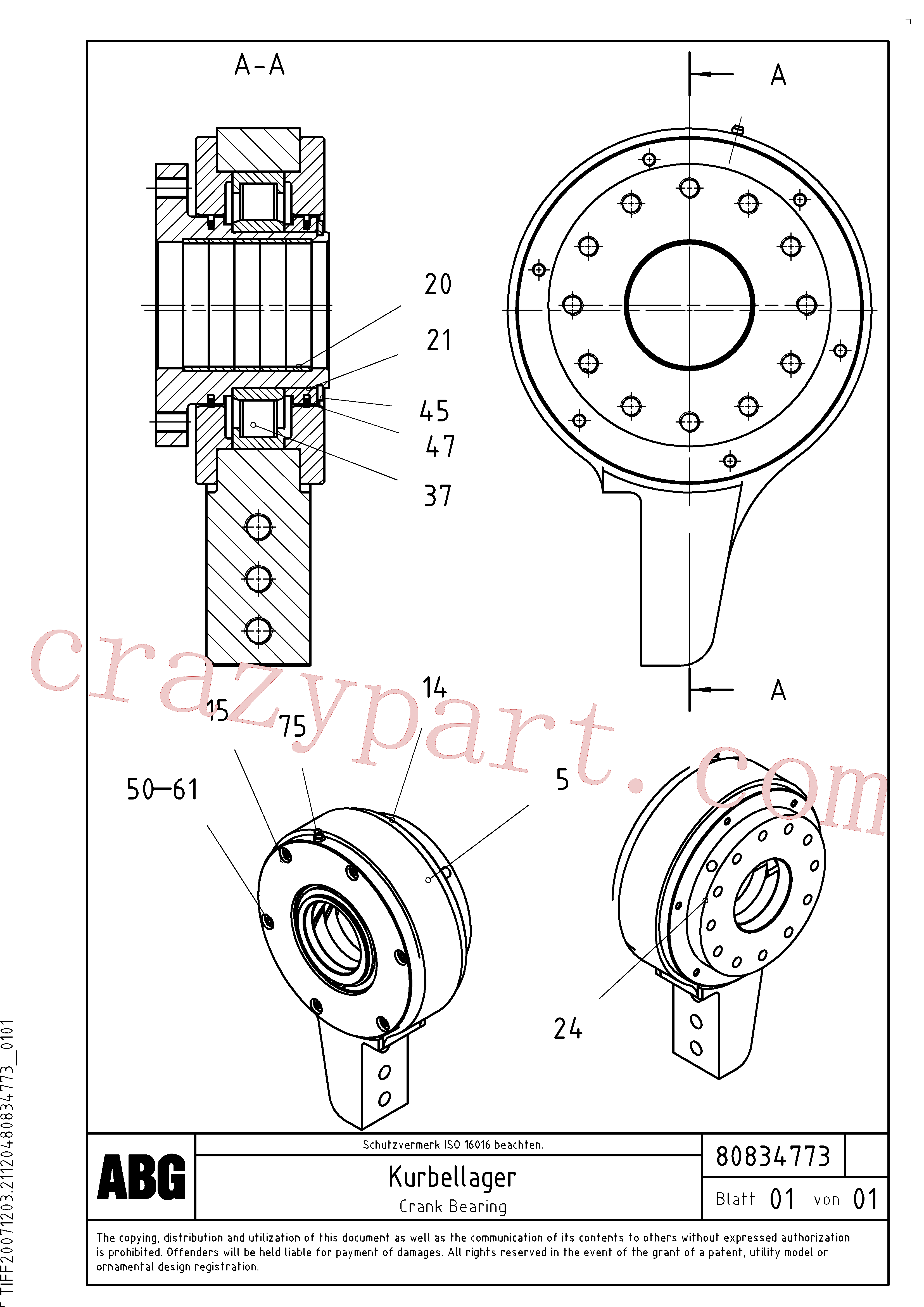 RM80834724 for Volvo Crank bearing for basic screed(1047634 assembly)