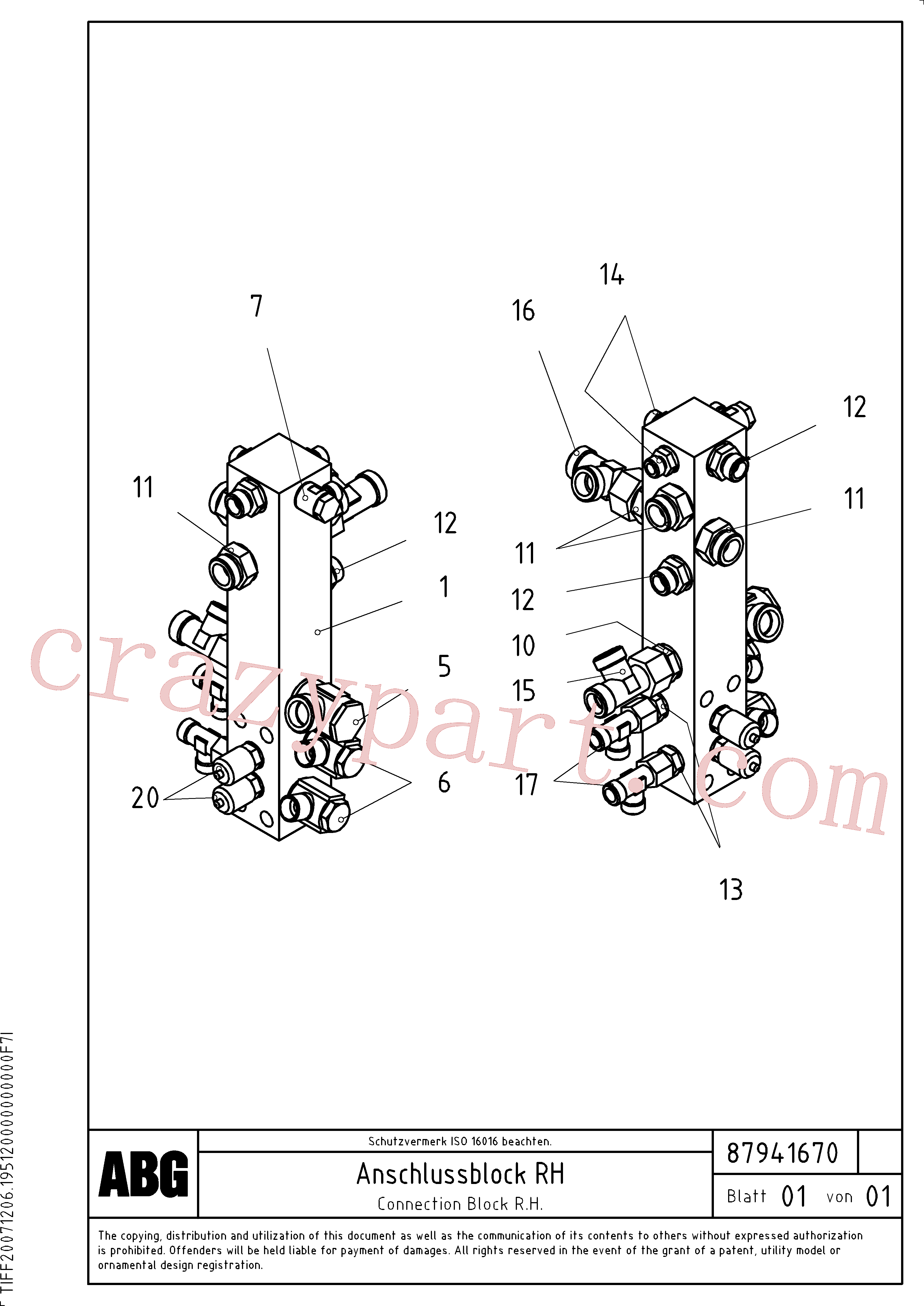 VOE11100853 for Volvo Connection block on basic screed(1047936 assembly)