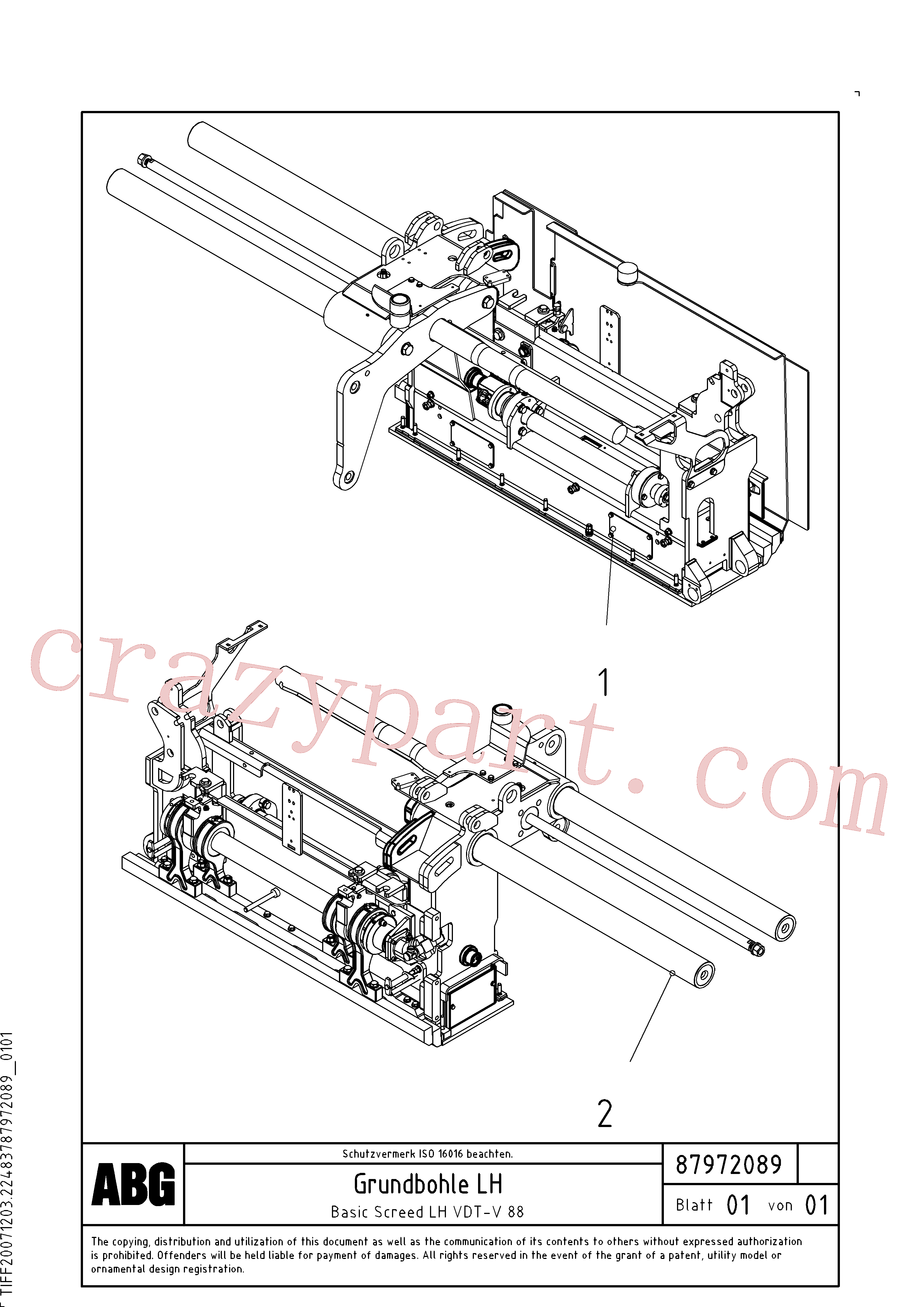 RM80667256 for Volvo Basic screed(1048165 assembly)