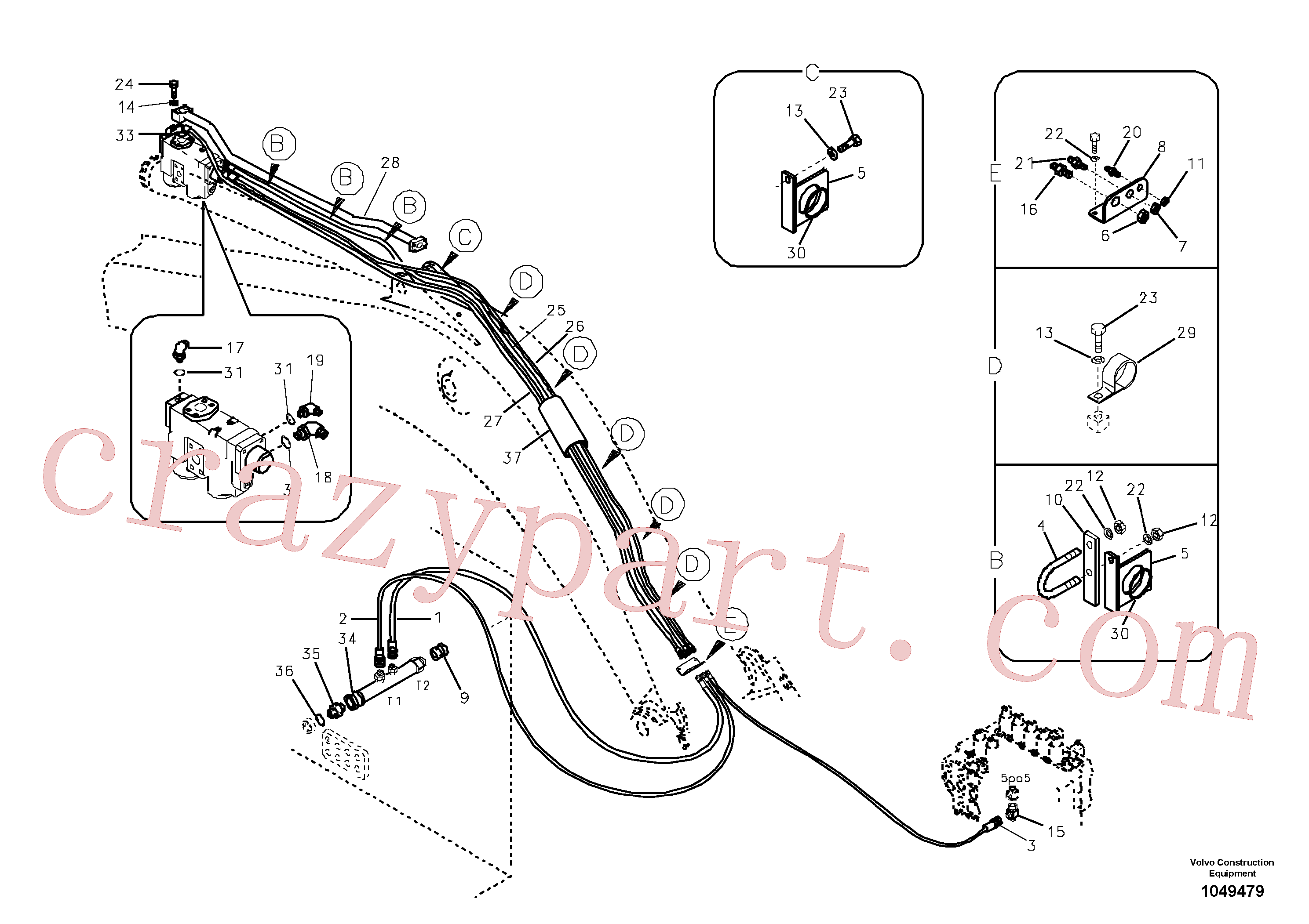 SA1174-02740 for Volvo Working hydraulic, dipper arm rupture(1049479 assembly)