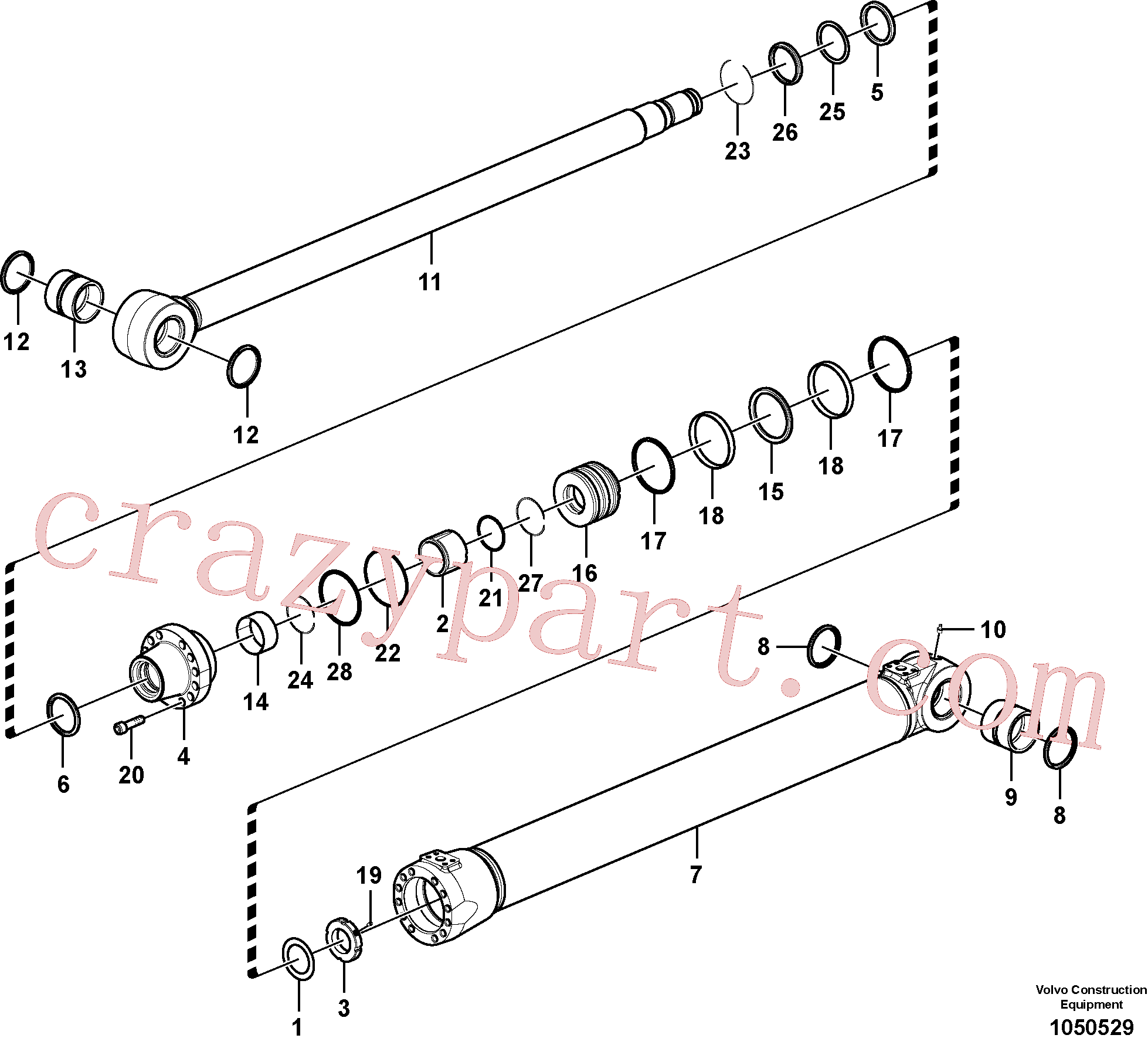 SA9556-10500 for Volvo Boom cylinder(1050529 assembly)