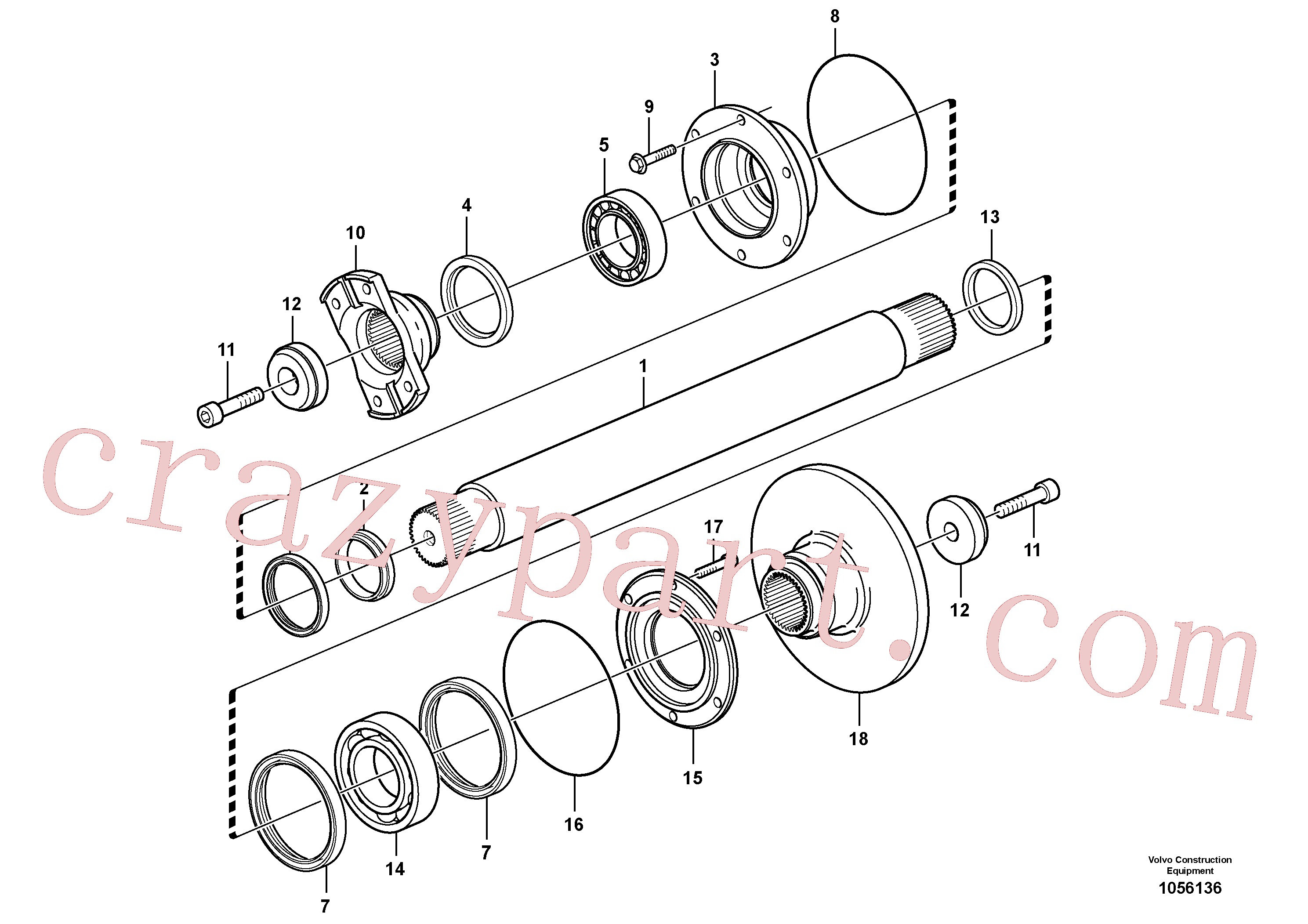 VOE11193687 for Volvo Intermediate shaft(1056136 assembly)