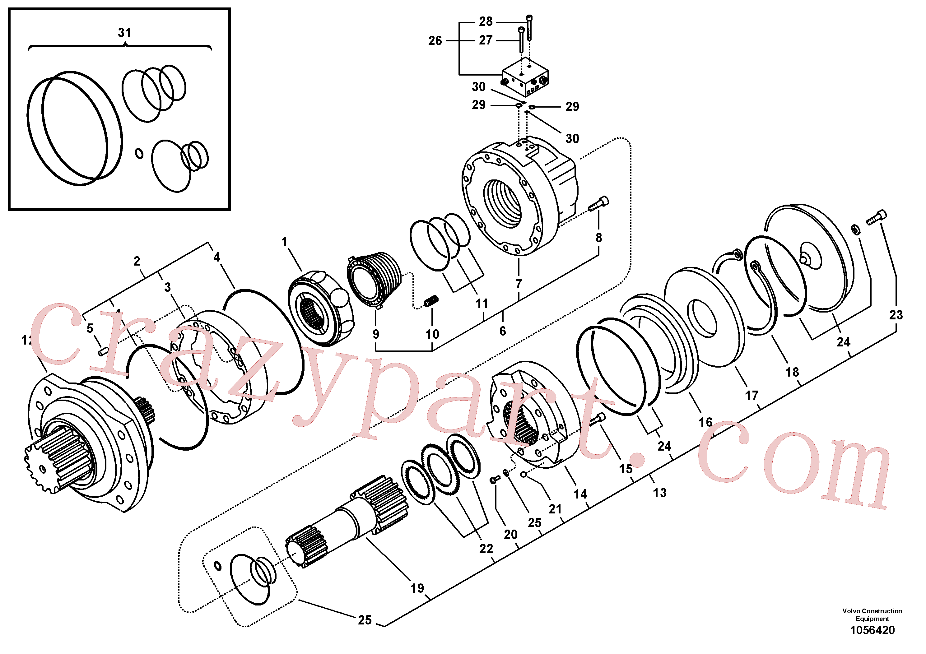 VOE11712804 for Volvo Swing motor(1056420 assembly)